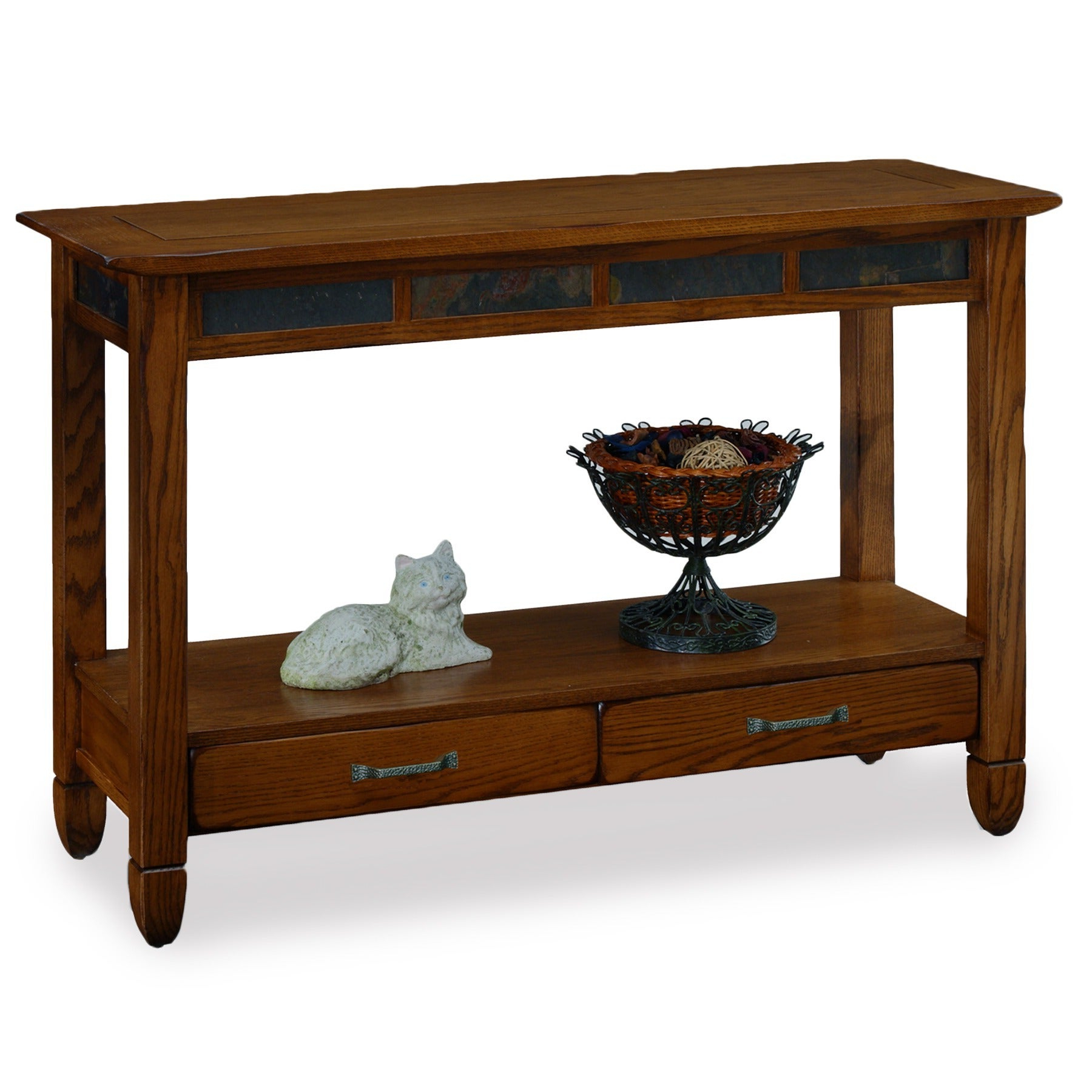 Rustic Oak And Slate Tile Sofa Table Within Well Liked Copper Grove Ixia Rustic Oak And Slate Tile Coffee Tables (View 8 of 20)