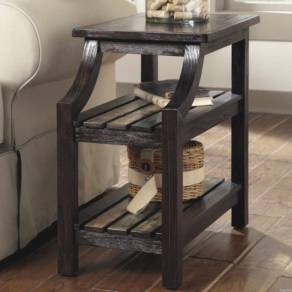 Rustic Side Table Storage Wood Top Accent End Coffee Living Regarding Most Current Corey Rustic Brown Accent Tables (View 19 of 20)