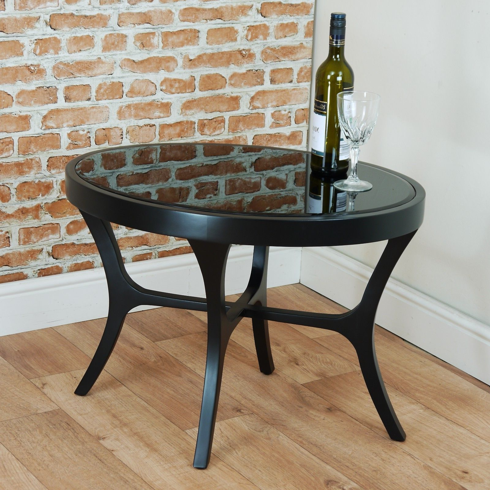 Rv Astley Abbert Black Side Table Bevelled Glass With Regard To Current Occasional Contemporary Black Coffee Tables (View 16 of 20)