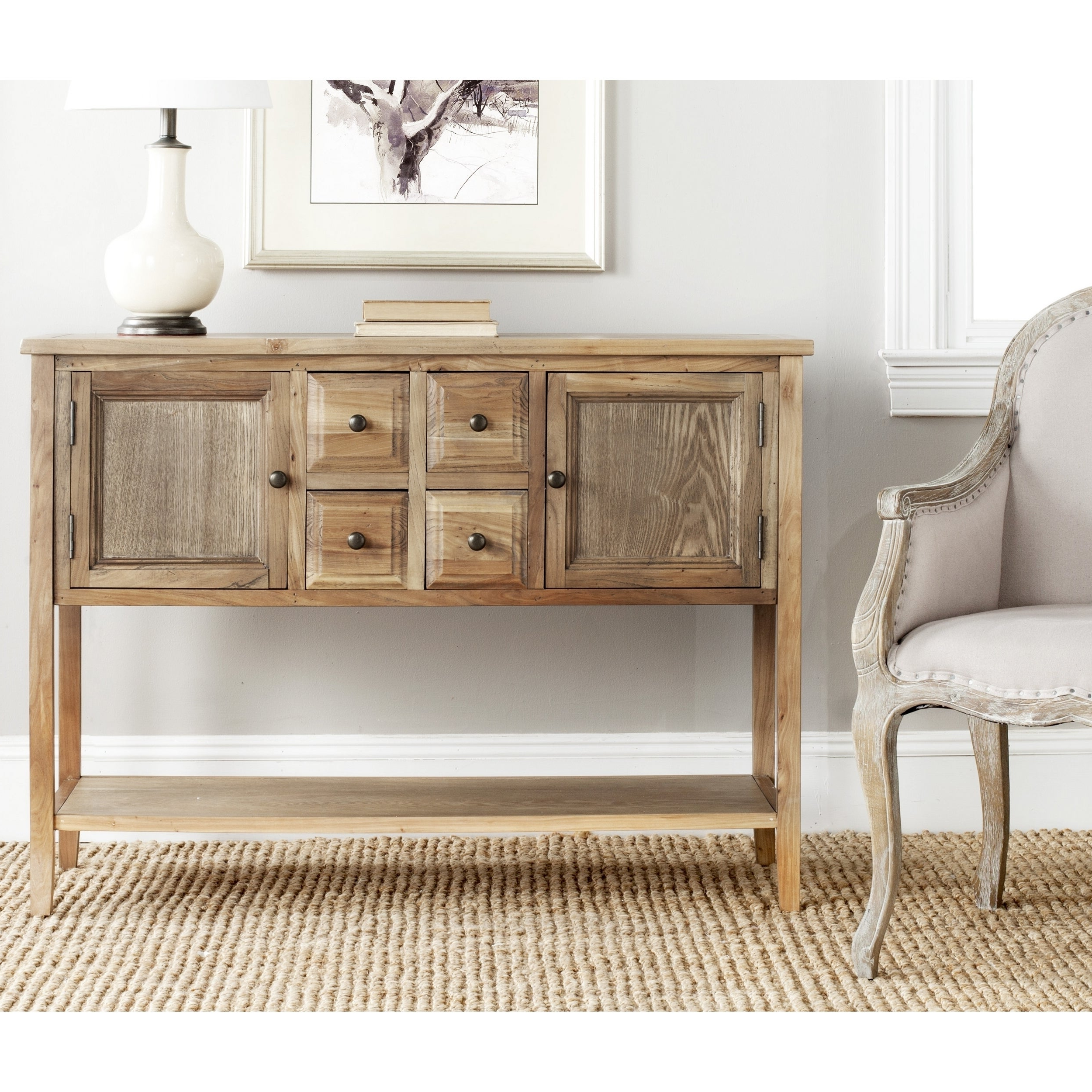 Safavieh Brighton Oak Finish Storage Sideboard With Damian Sideboards (View 9 of 20)