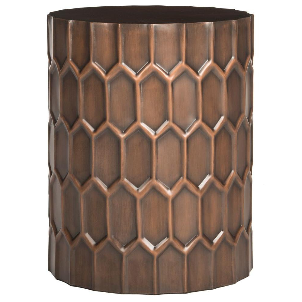 Safavieh Corey Antique Copper Side Table Fox3238a – The Home Throughout Well Liked Corey Rustic Brown Accent Tables (View 17 of 20)