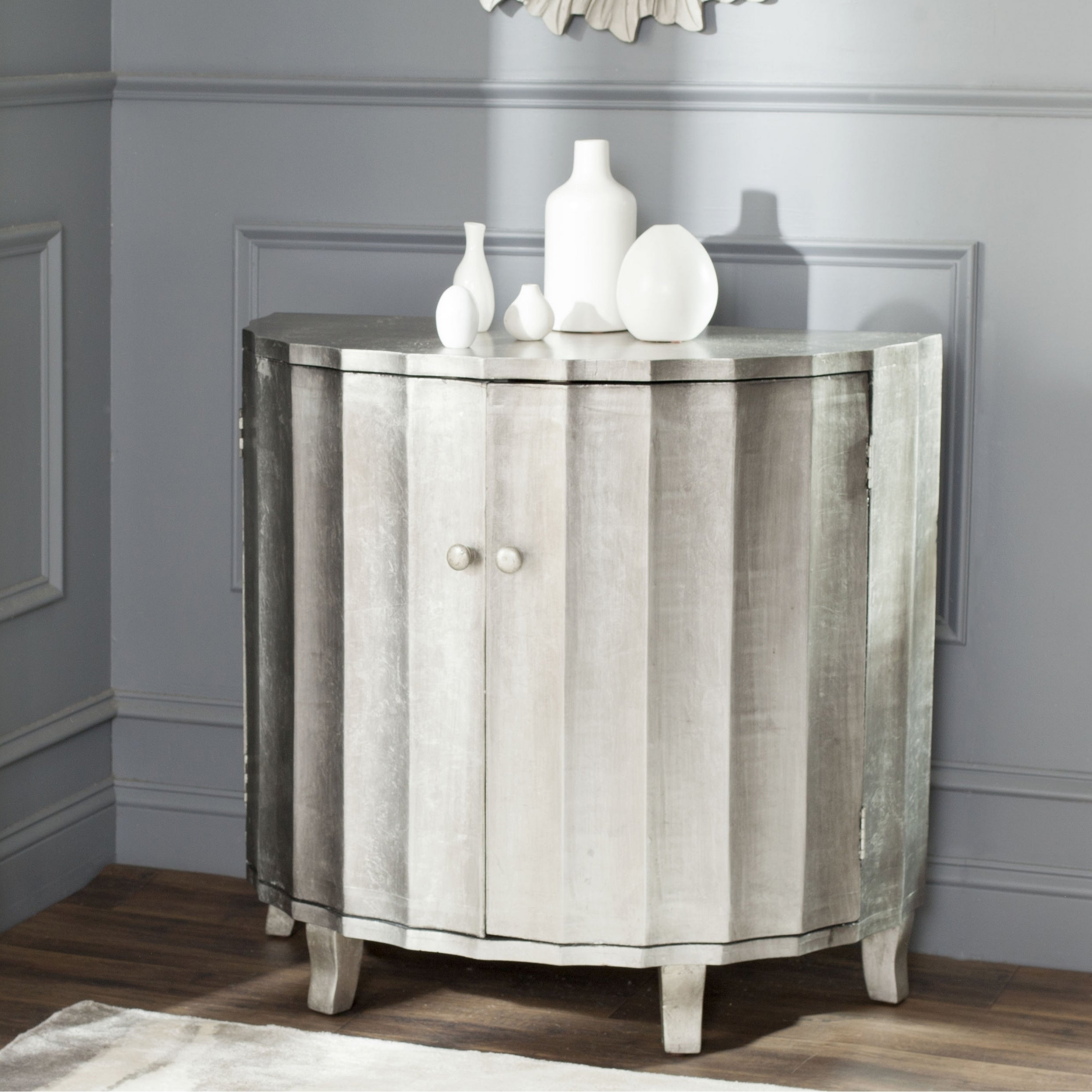 Safavieh Rutherford Demilune Silver Leaf Cabinet For Rutherford Sideboards (View 10 of 20)