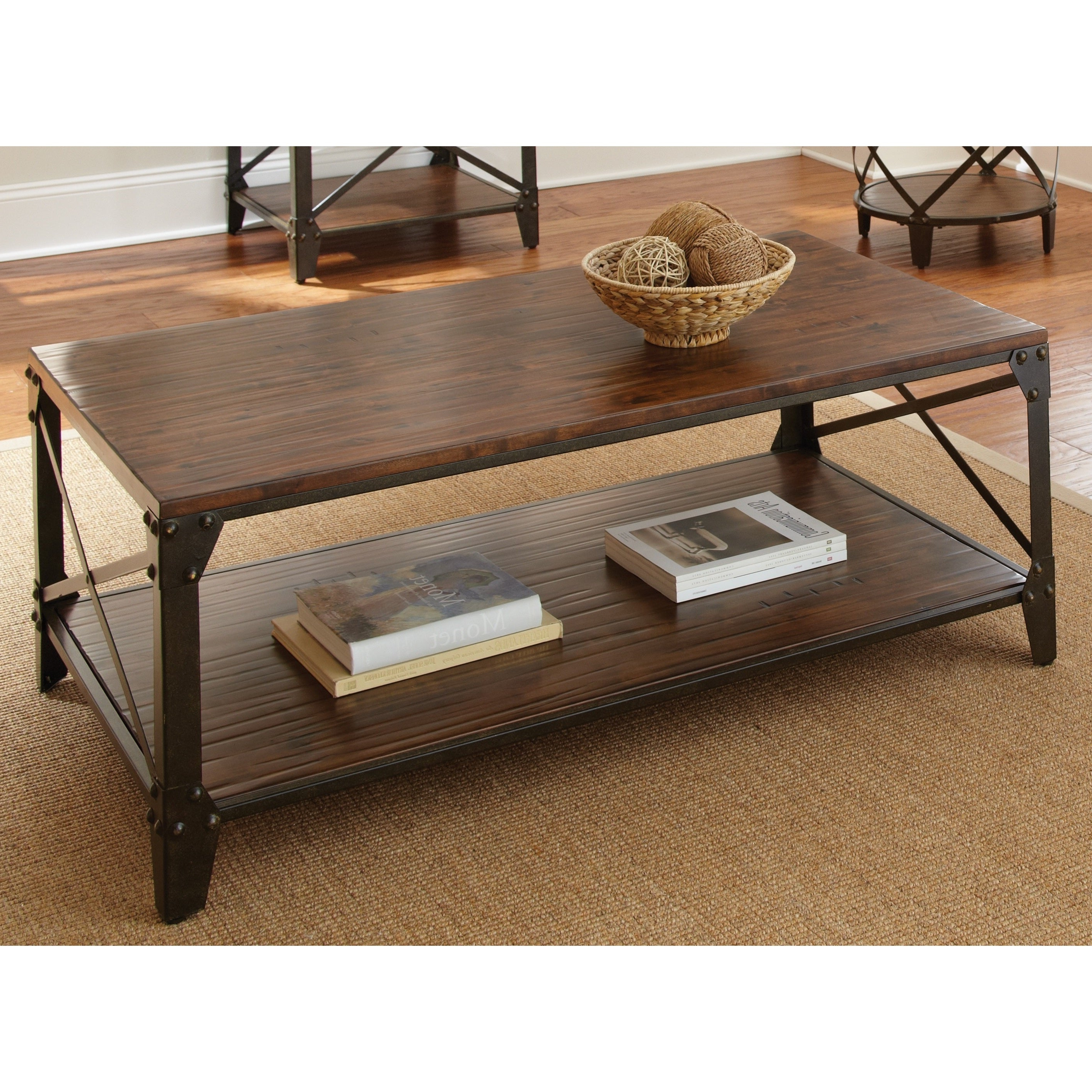 Shop Carbon Loft Fischer Brown Solid Birch And Iron Rustic Throughout Most Popular Carbon Loft Fischer Brown Solid Birch And Iron Rustic Coffee Tables (View 18 of 20)