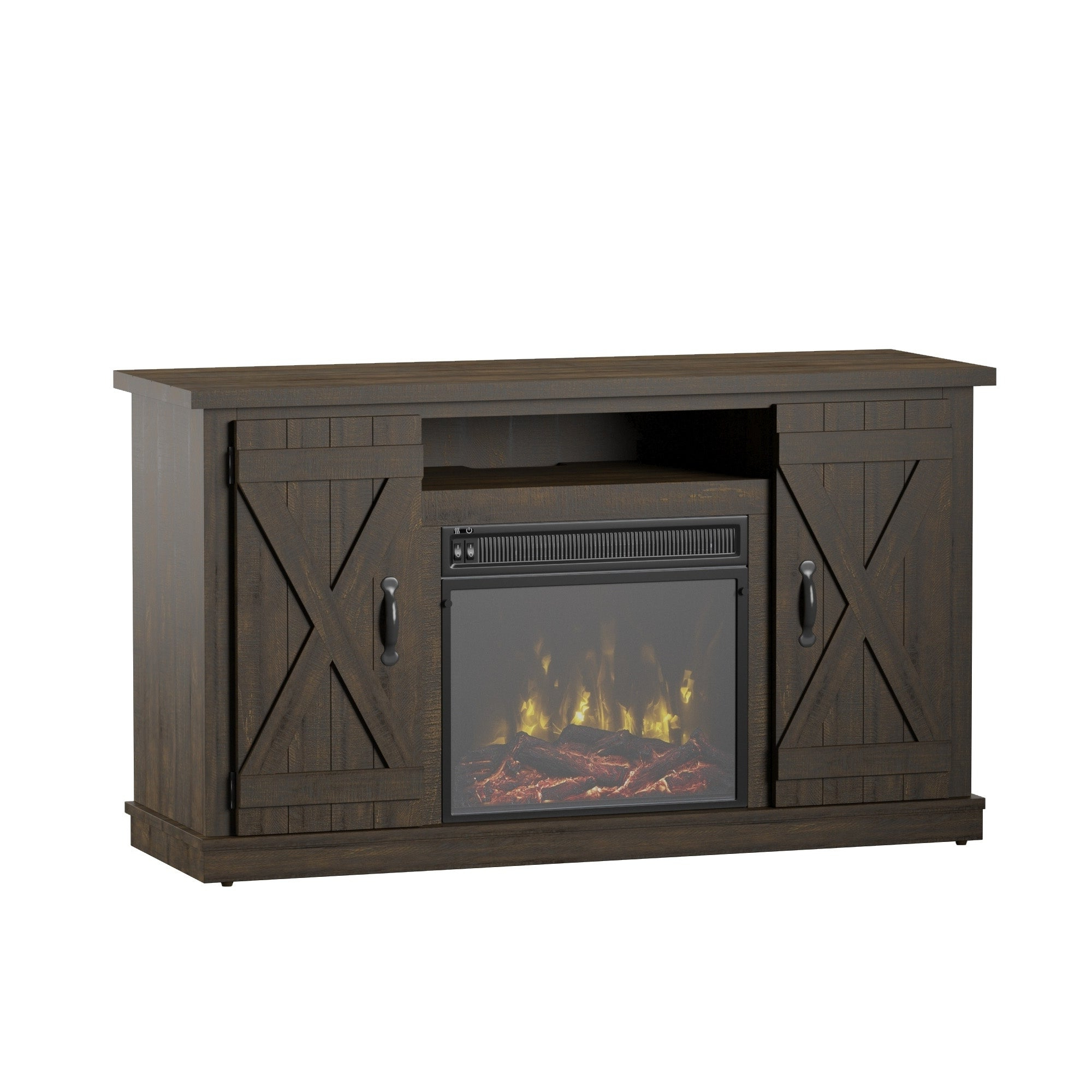 """Shop Cottonwood Tv Stand For Tvs Up To 55"""", Saw Cut Espresso With Ericka Tv Stands For Tvs Up To 42"""" (View 15 of 20)"""