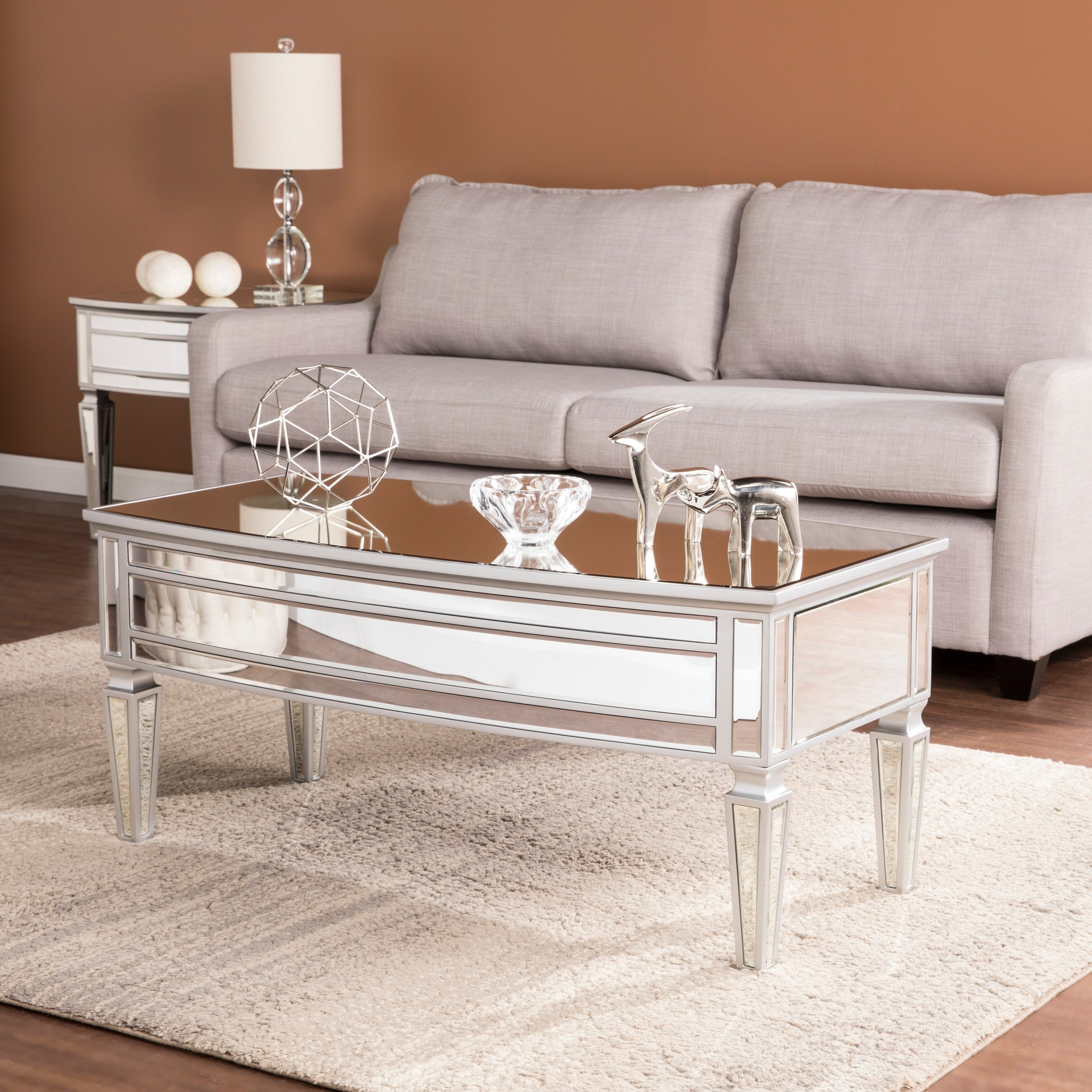 Shop Silver Orchid Olivia Silver Mirrored Glam Cocktail With Preferred Silver Orchid Olivia Mirrored Coffee Cocktail Tables (View 11 of 20)