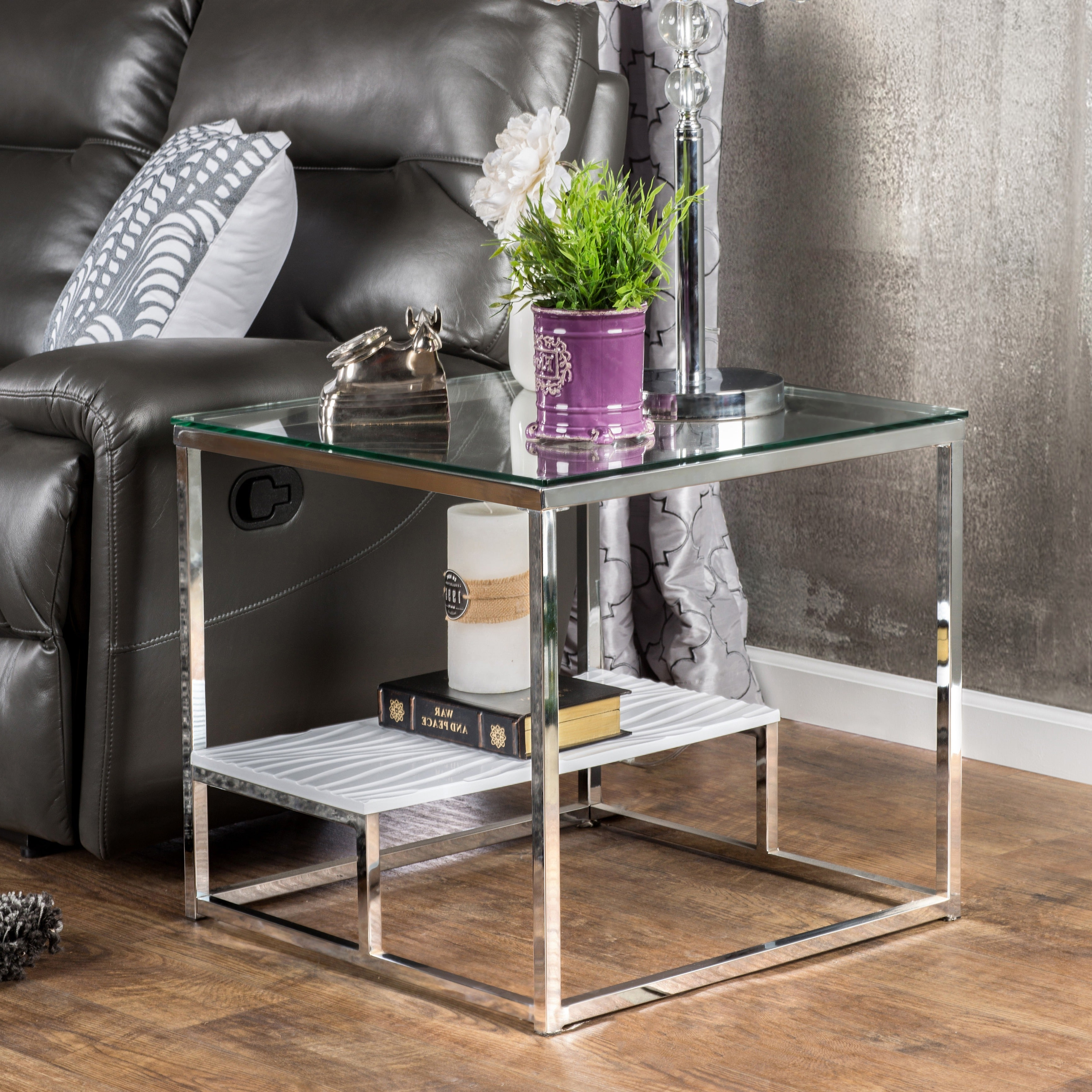 Shop Strick & Bolton Florence Chrome End Table – On Sale Regarding 2019 Strick & Bolton Jules Chrome And Glass Coffee Tables (View 8 of 20)