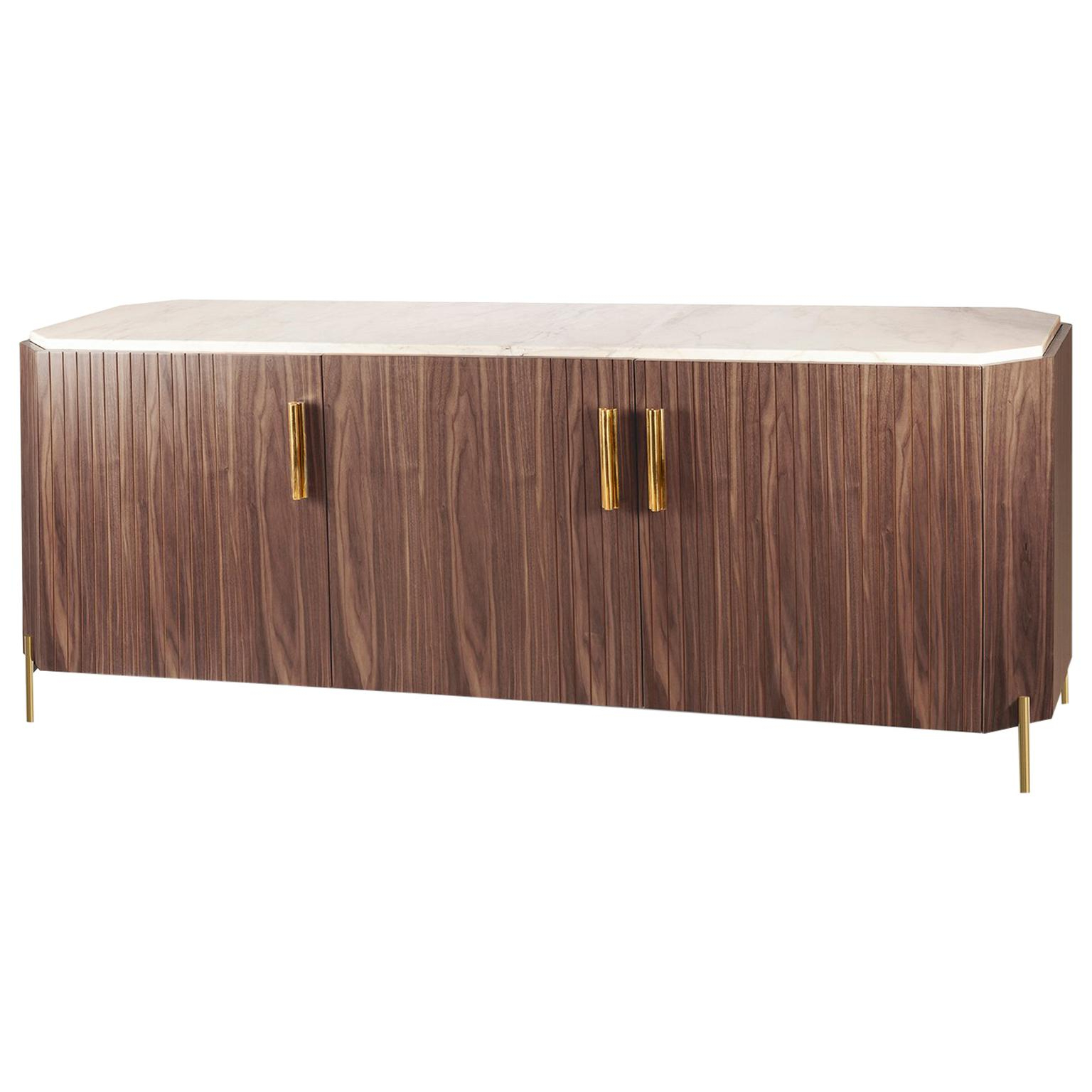 Sideboard Malcolm In Wood, Brass And Marble Pertaining To Malcom Buffet Table (View 15 of 20)