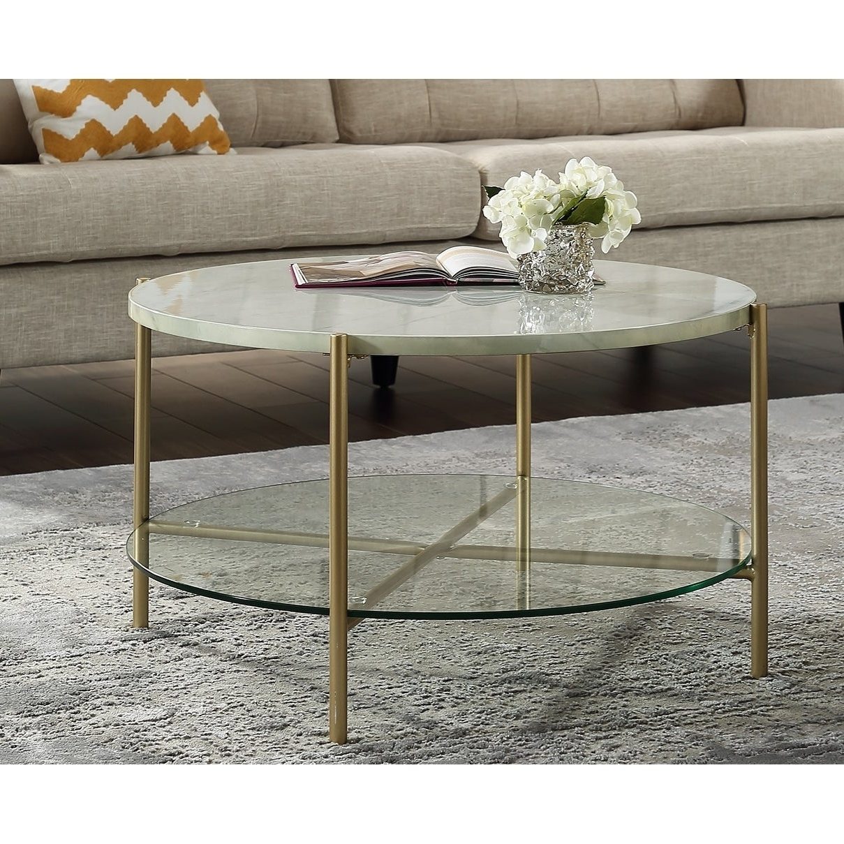 Silver Orchid 32 Inch Ipsen Round Coffee Table, Modern, Faux Marble Accent Cocktail Table For Living Room – 32 X 32 X 17h With Well Known Silver Orchid Ipsen Round Coffee Tables With X Base (View 16 of 20)