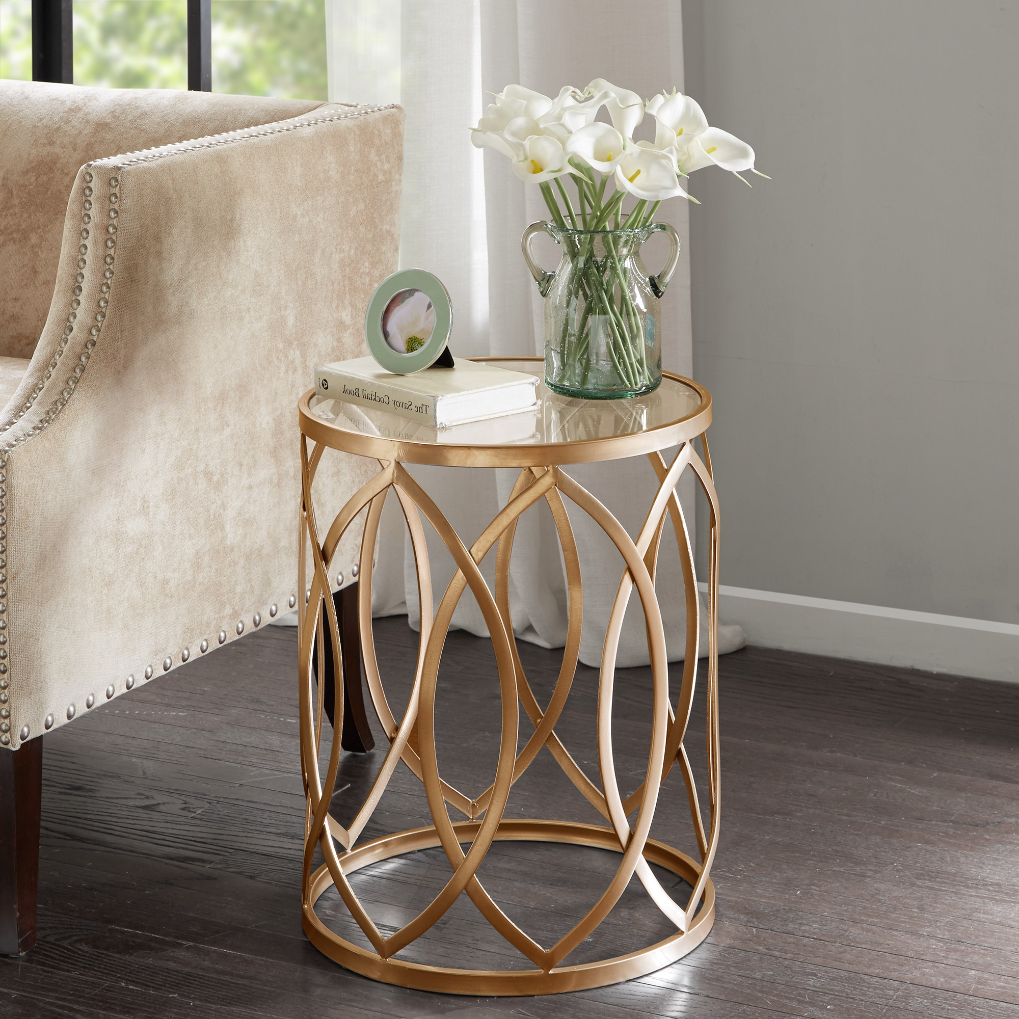 Silver Orchid Grant Gold/ Glass Metal Eyelet Accent Table In Popular Silver Orchid Grant Glam Nesting Cocktail Tables (View 18 of 20)