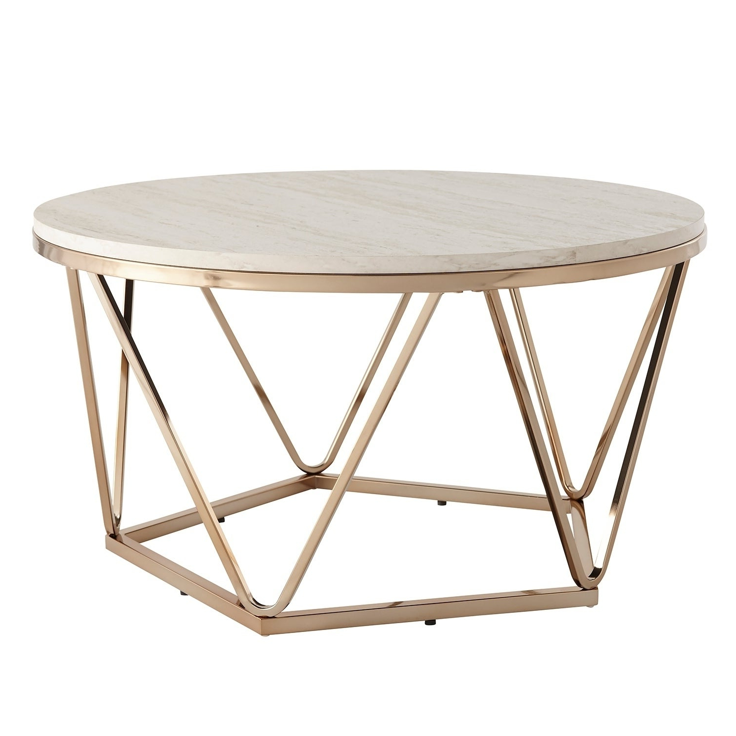 Silver Orchid Henderson Faux Stone Goldtone Round Coffee Table For Trendy Silver Orchid Henderson Faux Stone Round End Tables (View 7 of 20)