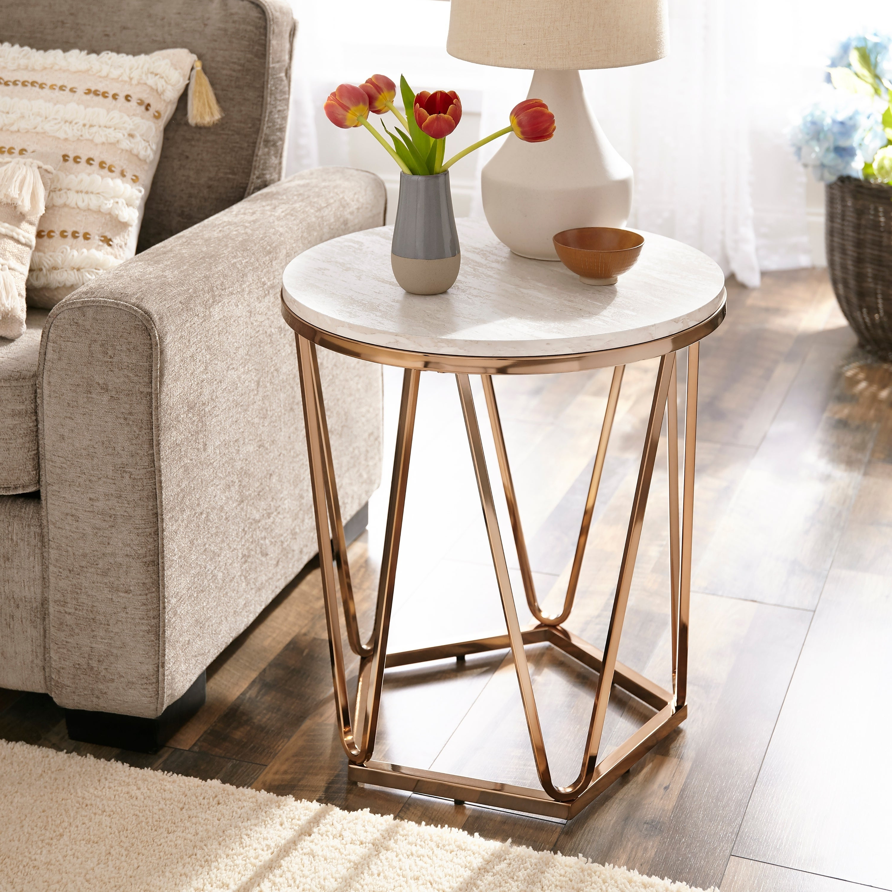 Featured Photo of Silver Orchid Henderson Faux Stone Round End Tables