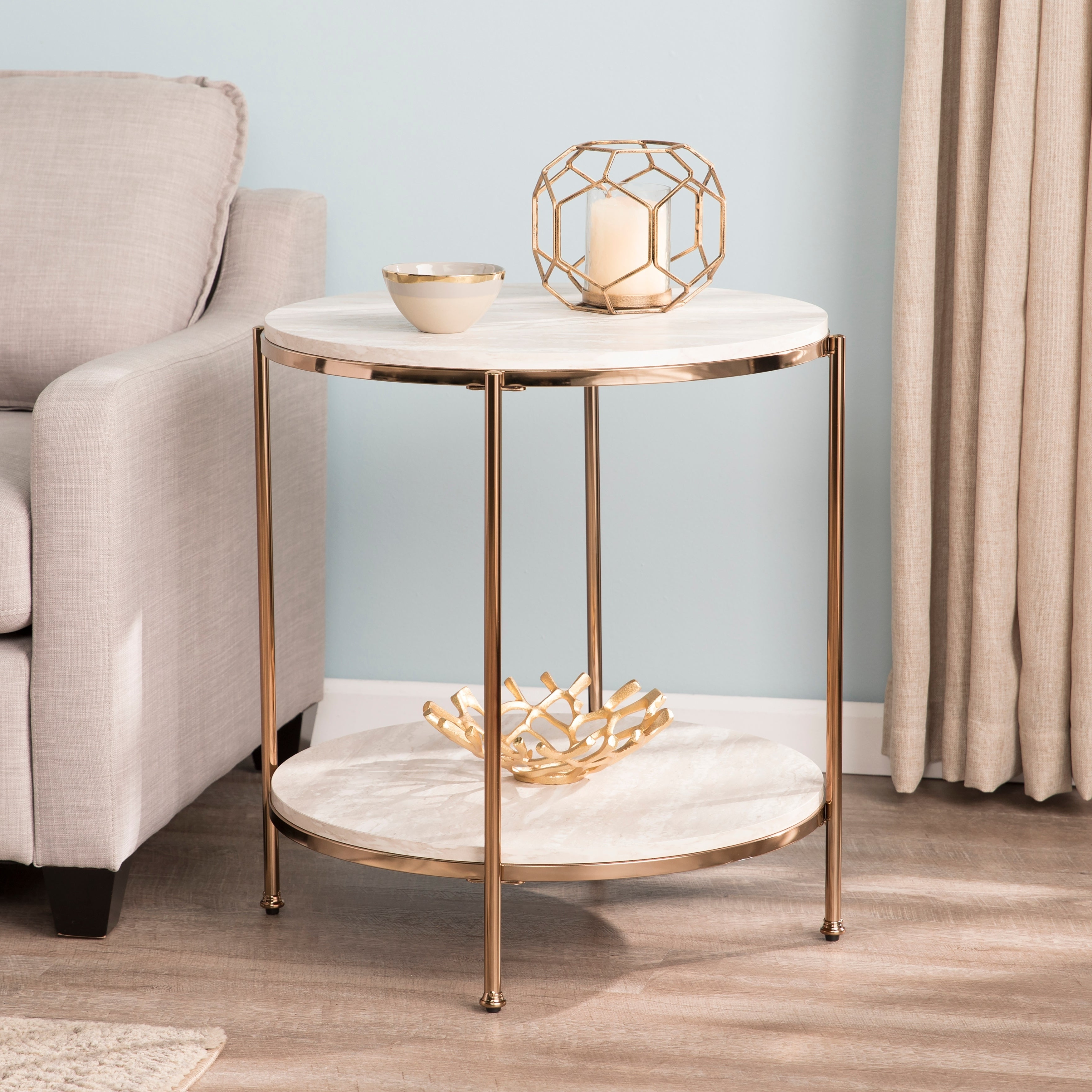 Silver Orchid Henderson Round Faux Stone End Table Within Current Silver Orchid Henderson Faux Stone Round End Tables (View 5 of 20)