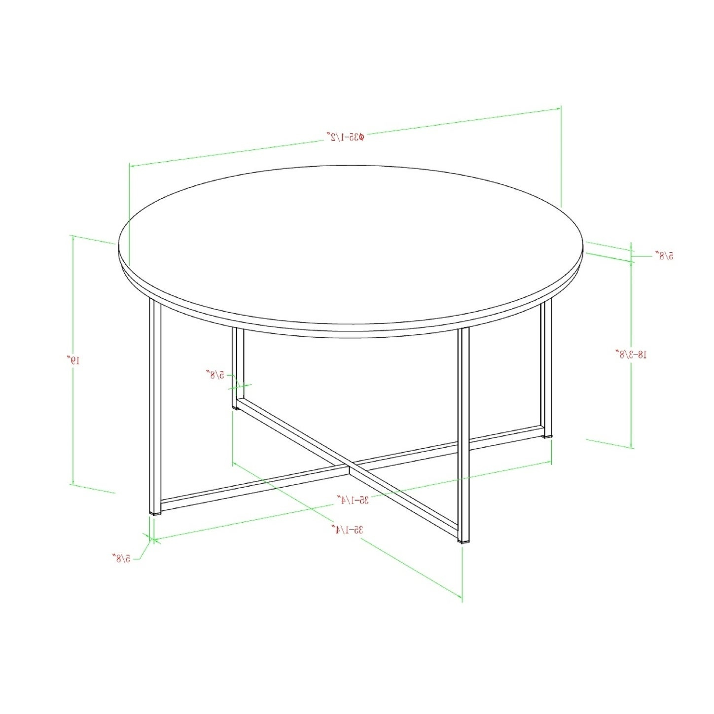 Silver Orchid Ipsen 36 Inch Round Coffee Table With X Base – 36 X 36 X 19h Regarding Newest Silver Orchid Ipsen Round Coffee Tables With X Base (View 8 of 20)