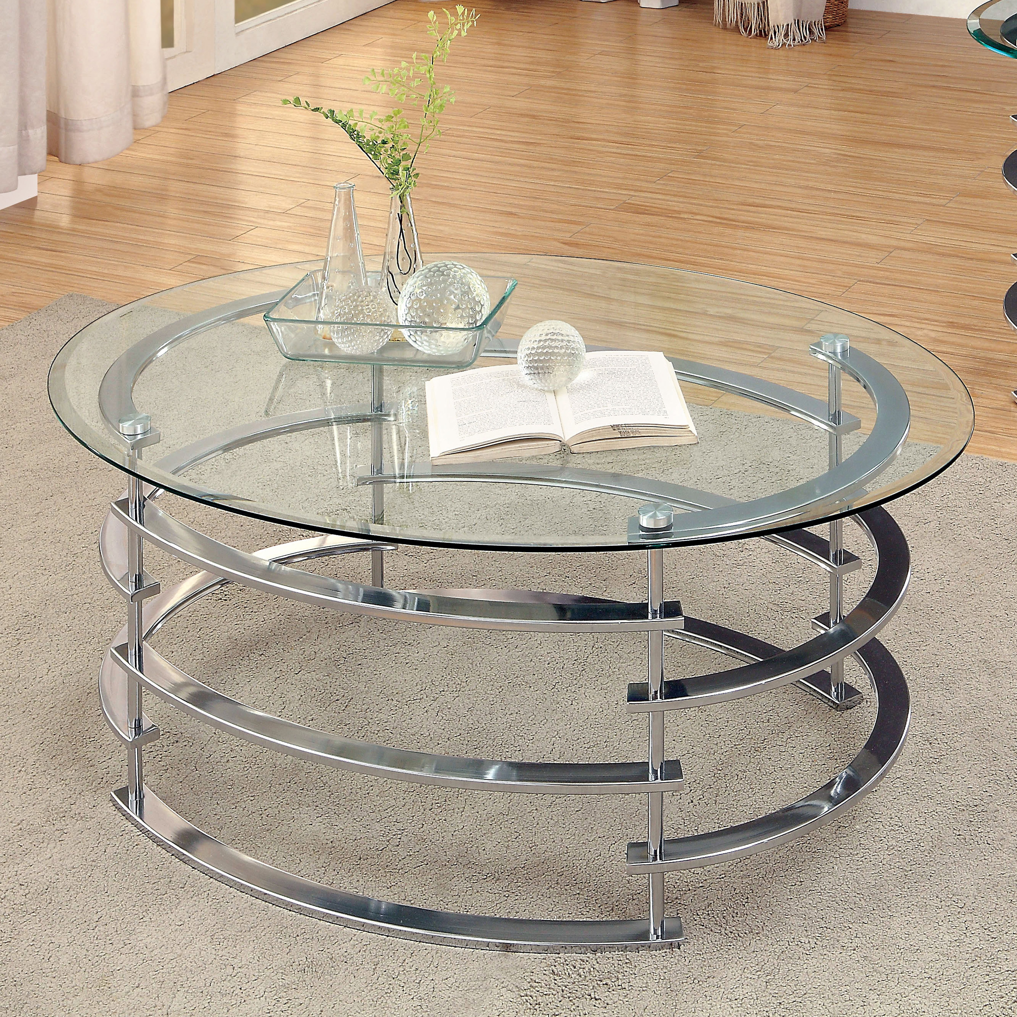 Silver Orchid Marcello Contemporary Glass Top Coffee Table Inside Well Known Silver Orchid Ipsen Round Coffee Tables With X Base (View 18 of 20)
