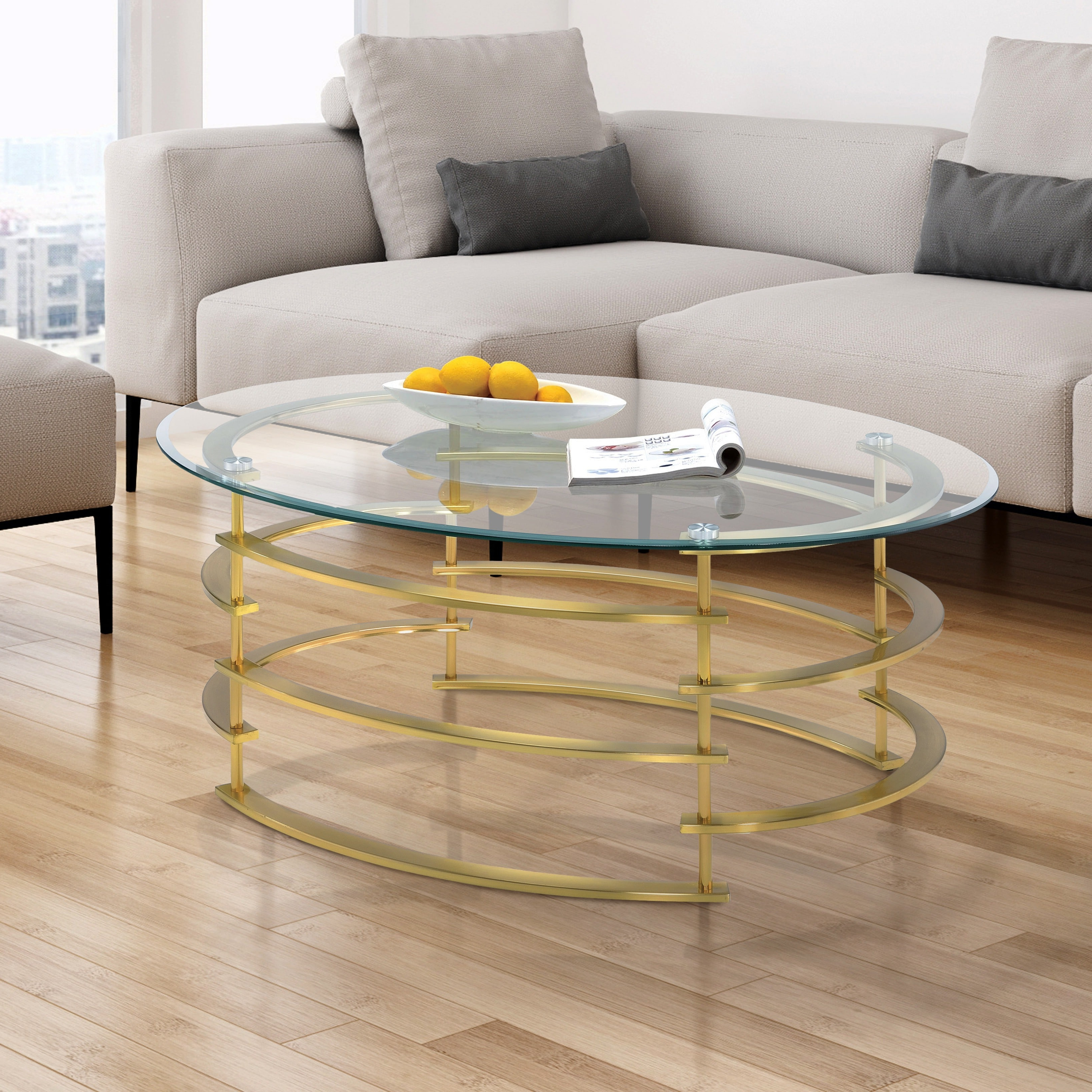 Silver Orchid Marcello Contemporary Glass Top Coffee Table Regarding Widely Used Silver Orchid Ipsen Round Coffee Tables With X Base (View 9 of 20)