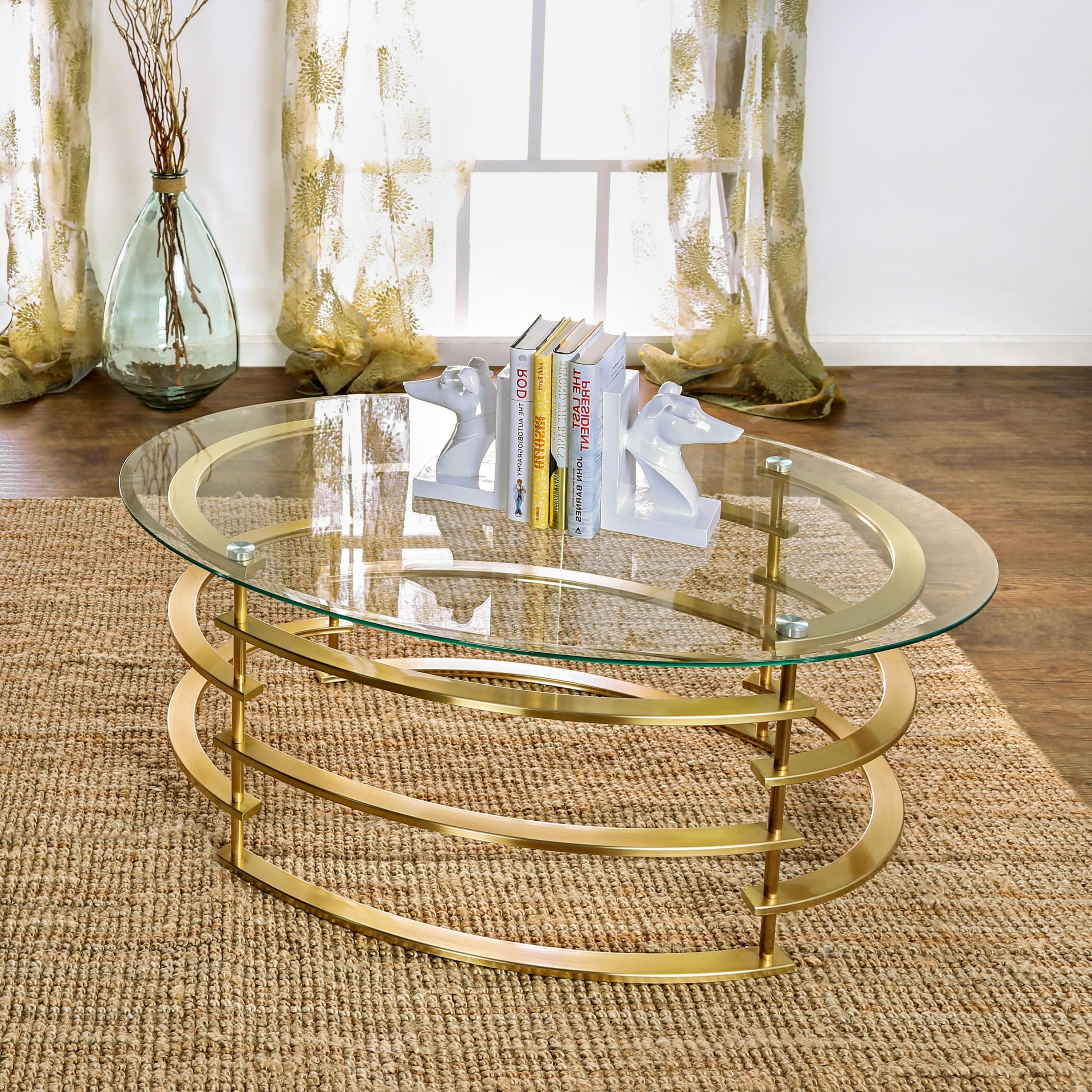 Silver Orchid Marcello Contemporary Glass Top Coffee Table Throughout 2020 Silver Orchid Ipsen Round Coffee Tables With X Base (View 14 of 20)