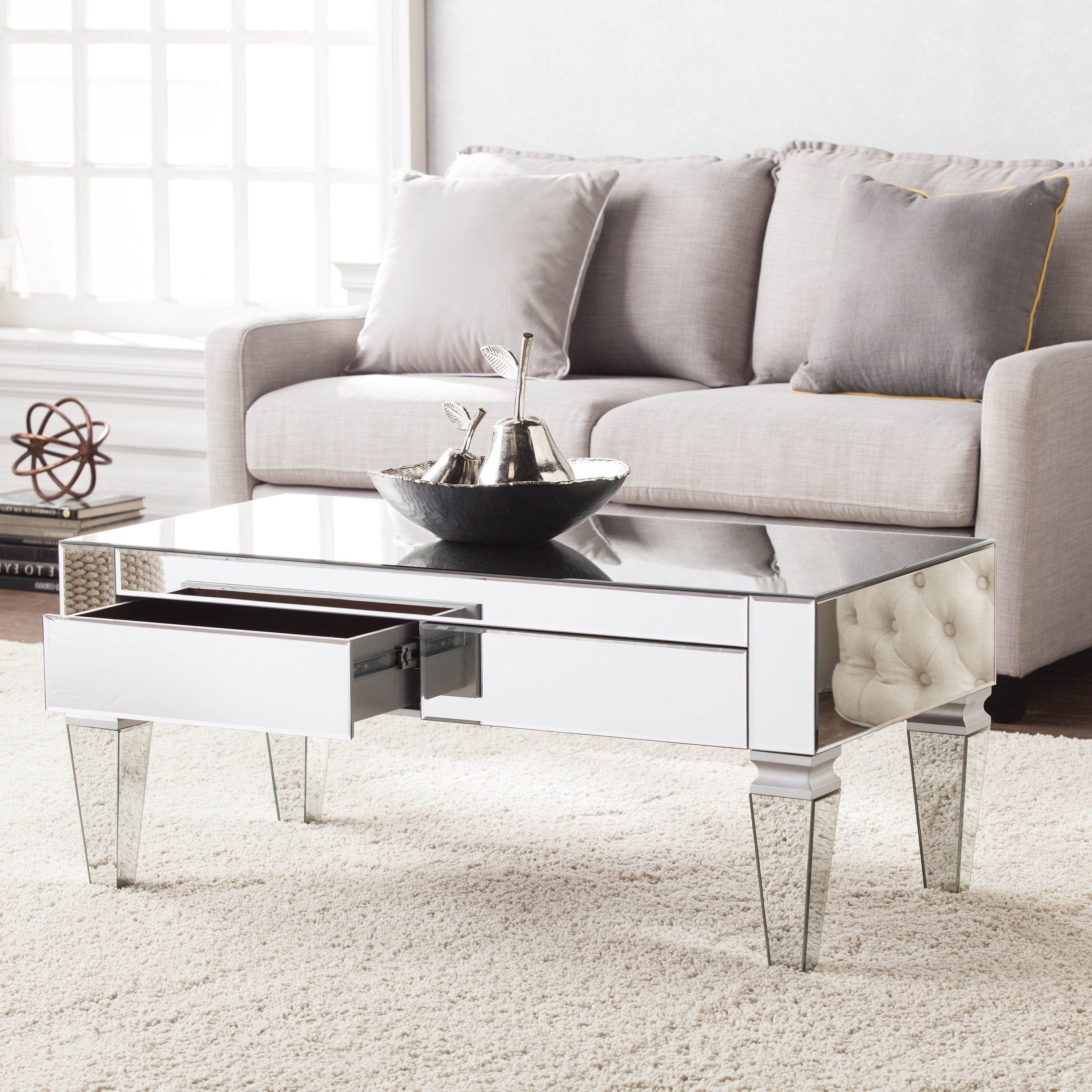 Silver Orchid Olivia Contemporary Mirrored Rectangular Cocktail Table With Regard To Most Up To Date Silver Orchid Olivia Mirrored Coffee Cocktail Tables (View 6 of 20)