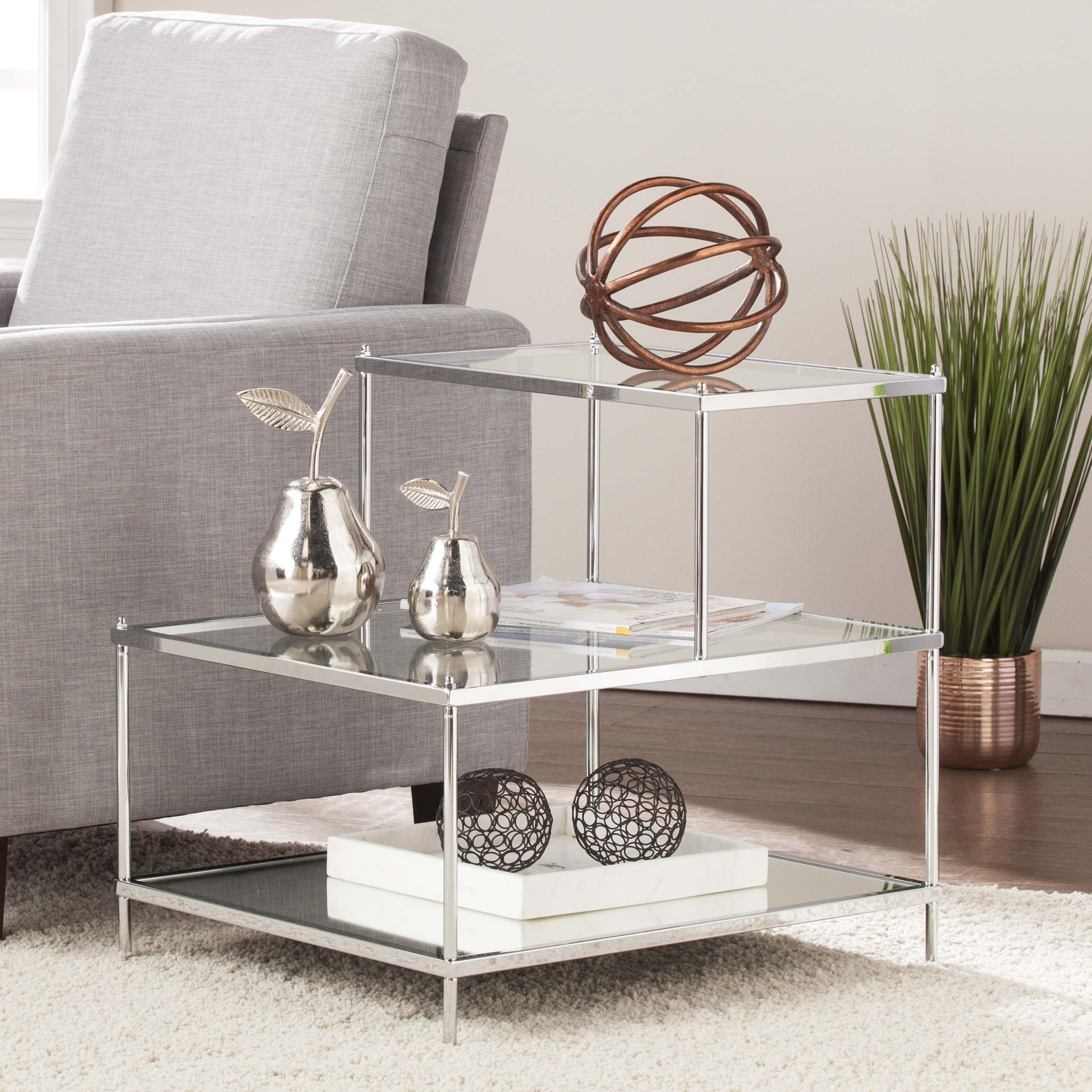 Silver Orchid Olivia Glam Mirrored Accent Table Chrome Small Intended For Widely Used Silver Orchid Olivia Chrome Mirrored Coffee Cocktail Tables (View 19 of 20)
