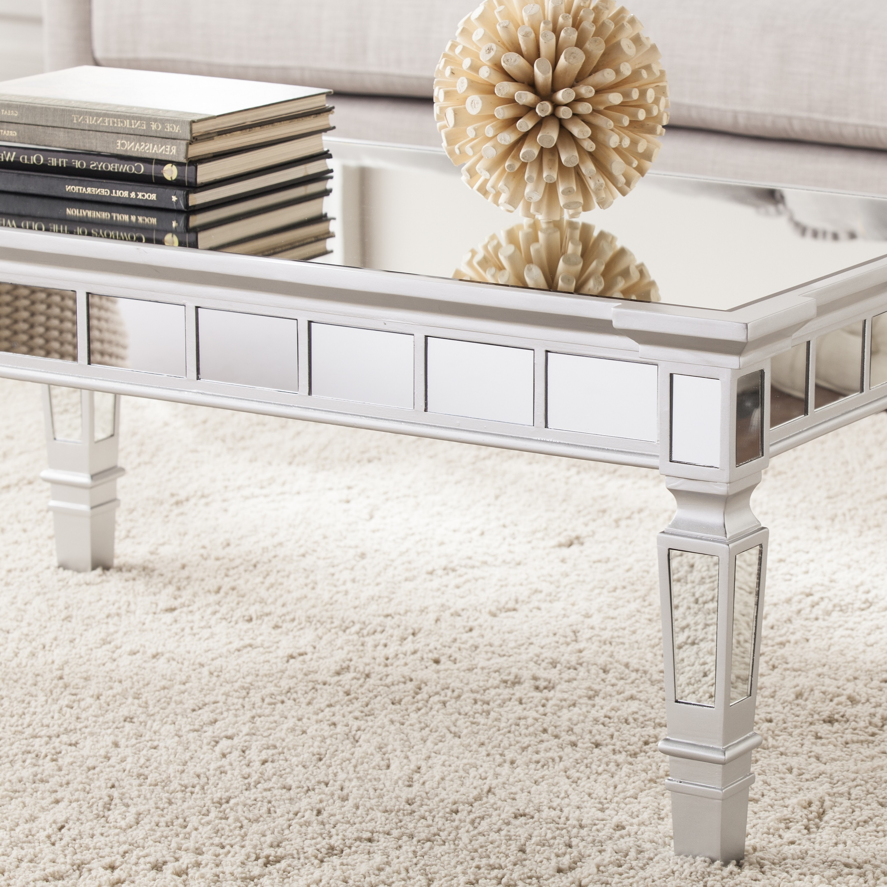 Silver Orchid Olivia Glam Mirrored Rectangular Cocktail Table – Matte Silver Intended For Well Known Silver Orchid Olivia Mirrored Coffee Cocktail Tables (View 15 of 20)