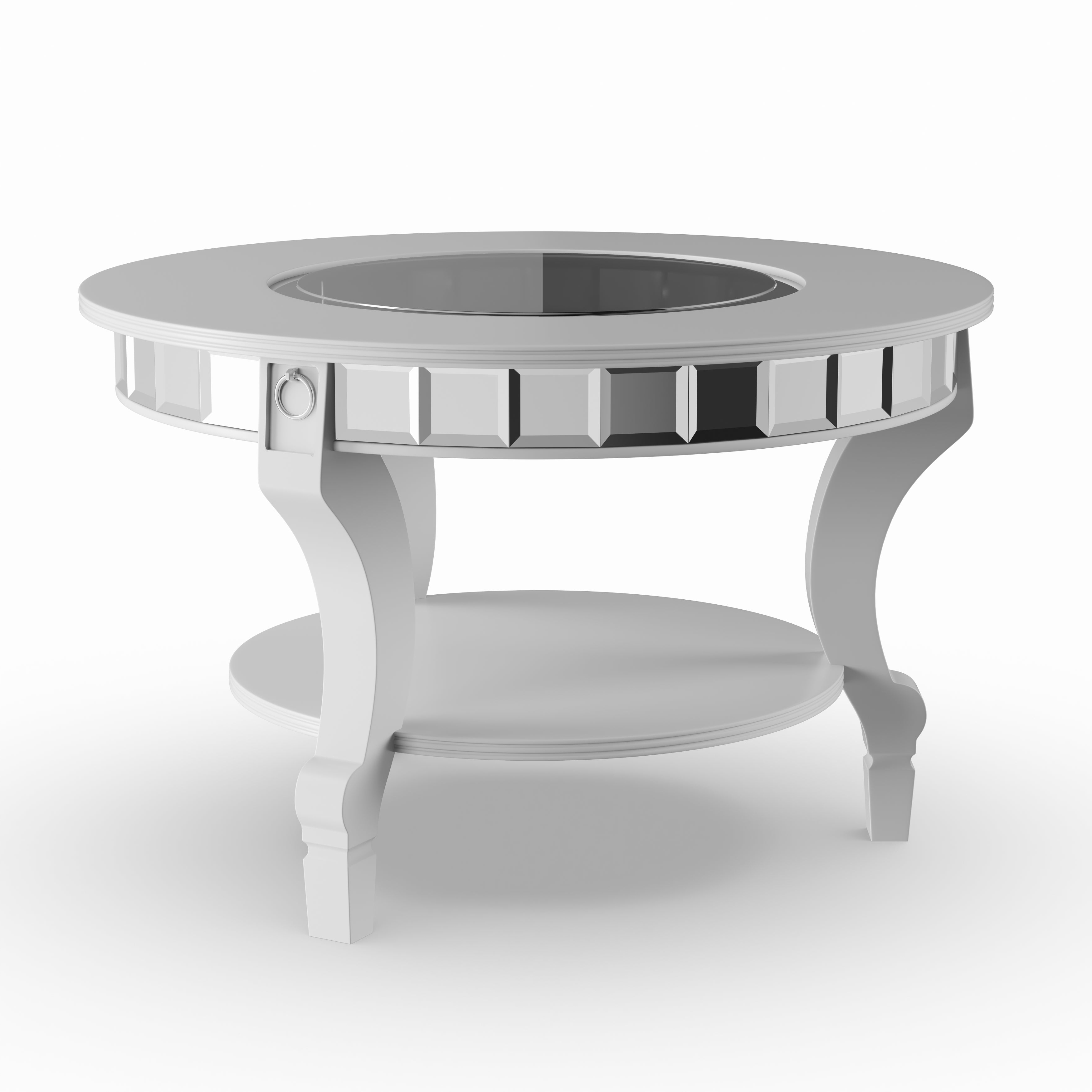 Silver Orchid Olivia Glam Mirrored Round Cocktail Table – Matte Silver Inside Most Recent Silver Orchid Olivia Glam Mirrored Round Cocktail Tables (View 2 of 20)