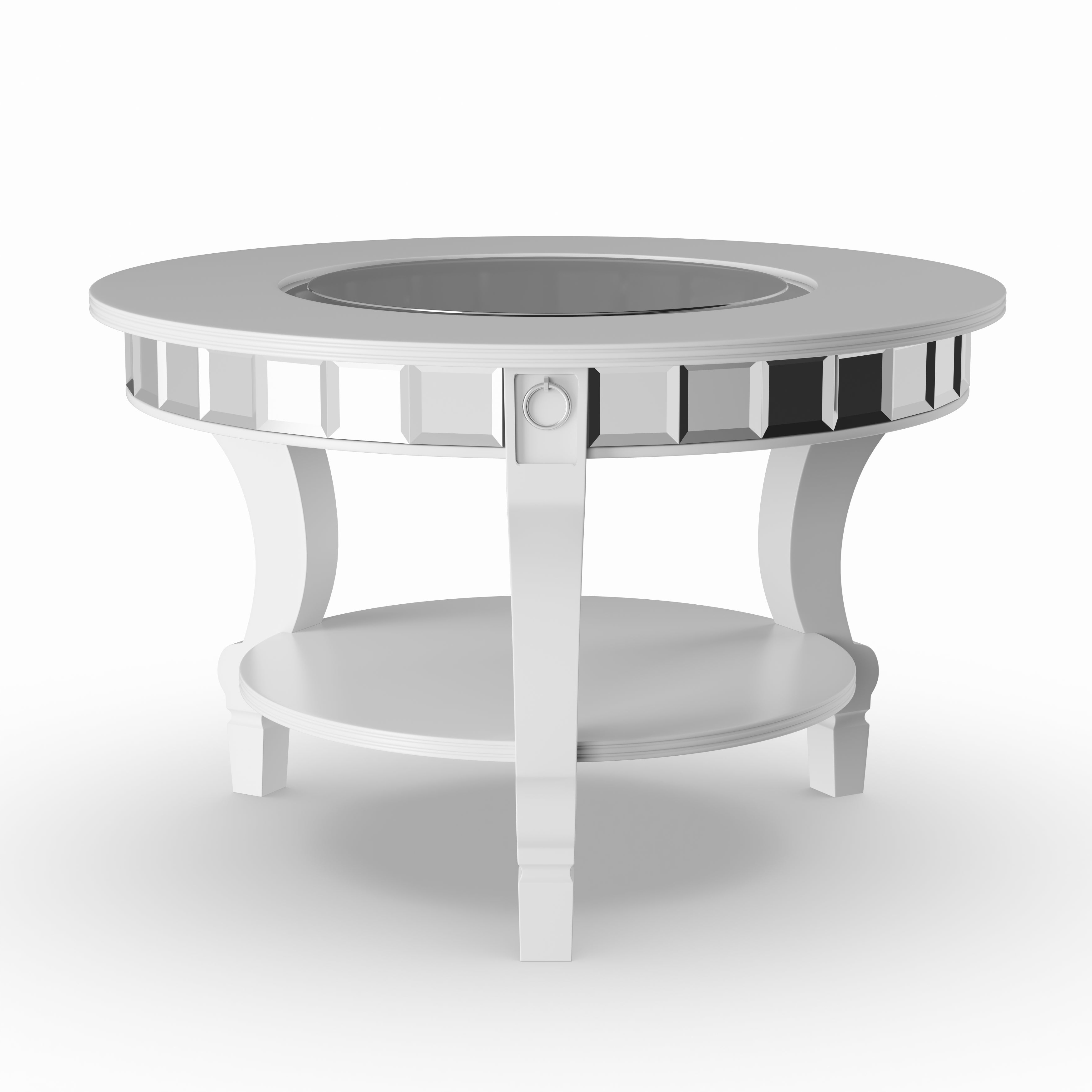 Silver Orchid Olivia Glam Mirrored Round Cocktail Table – Matte Silver With Regard To Widely Used Silver Orchid Olivia Glam Mirrored Round Cocktail Tables (View 4 of 20)