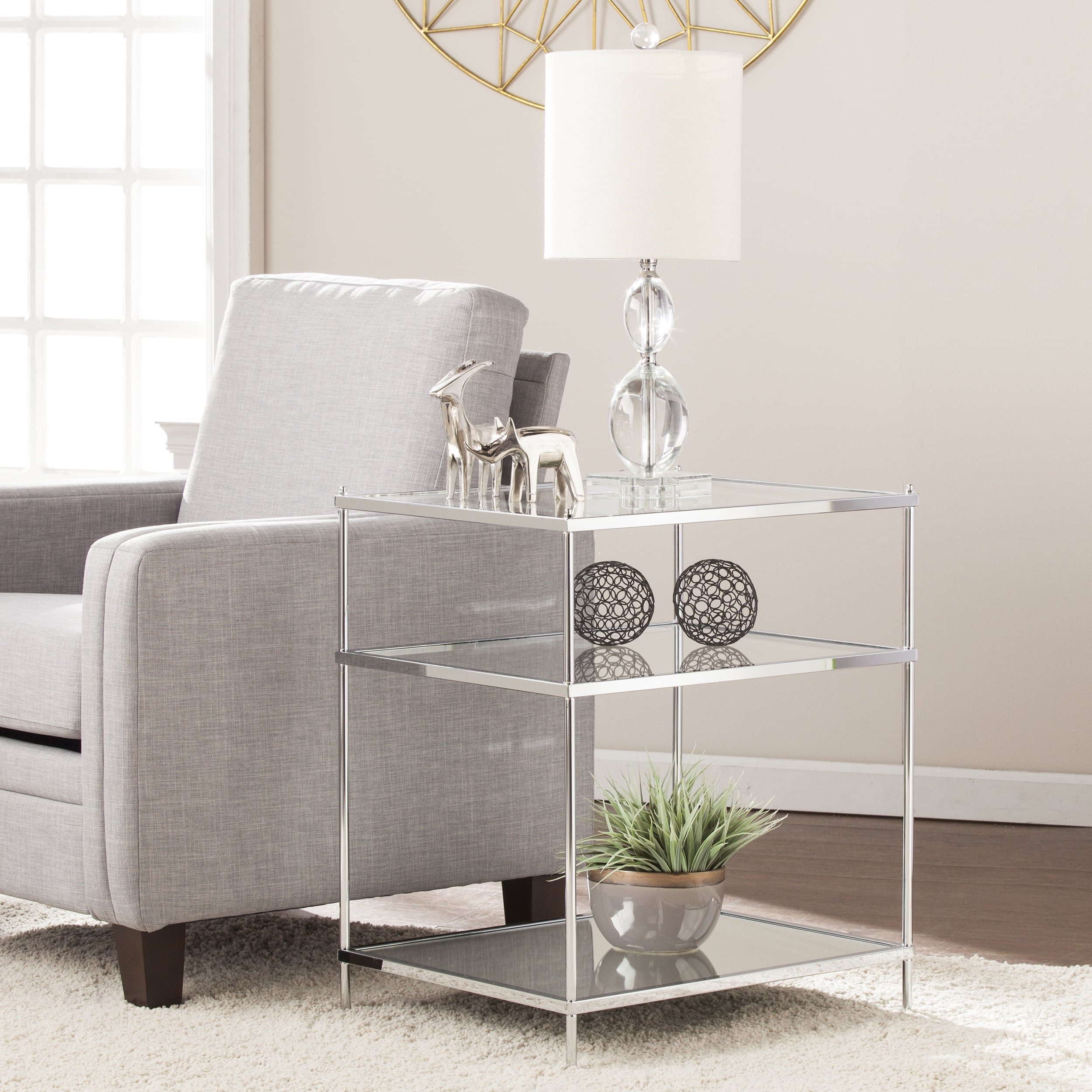 Silver Orchid Olivia Glam Mirrored Side Table Chrome Within Current Silver Orchid Olivia Glam Mirrored Round Cocktail Tables (View 7 of 20)