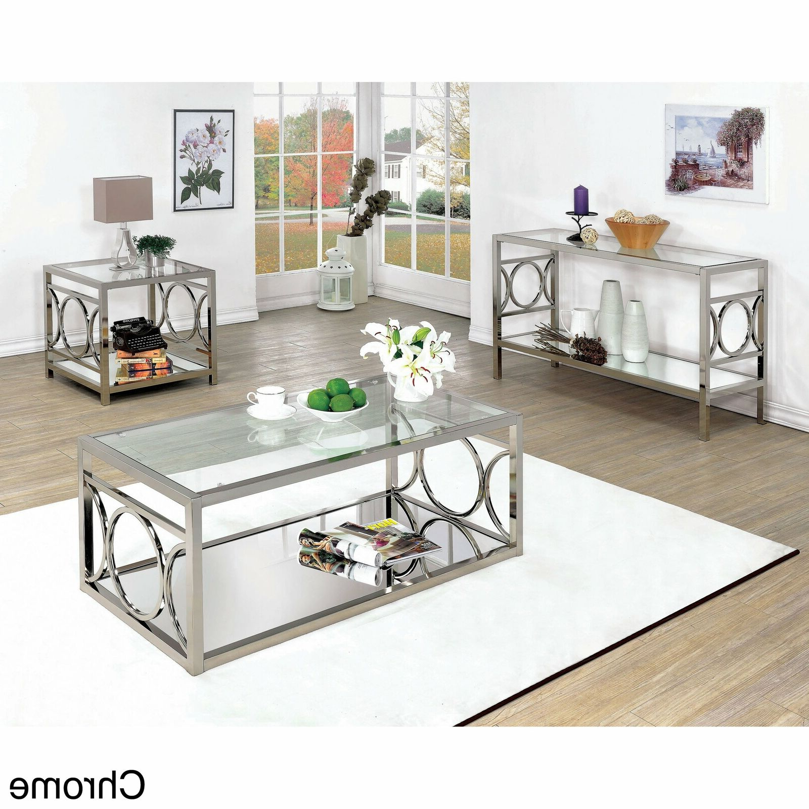 Silver Orchid Valkyrien Contemporary Glass Top Sofa Table Chrome With Regard To Widely Used Velma Modern Satin Plated Coffee Tables (View 14 of 20)