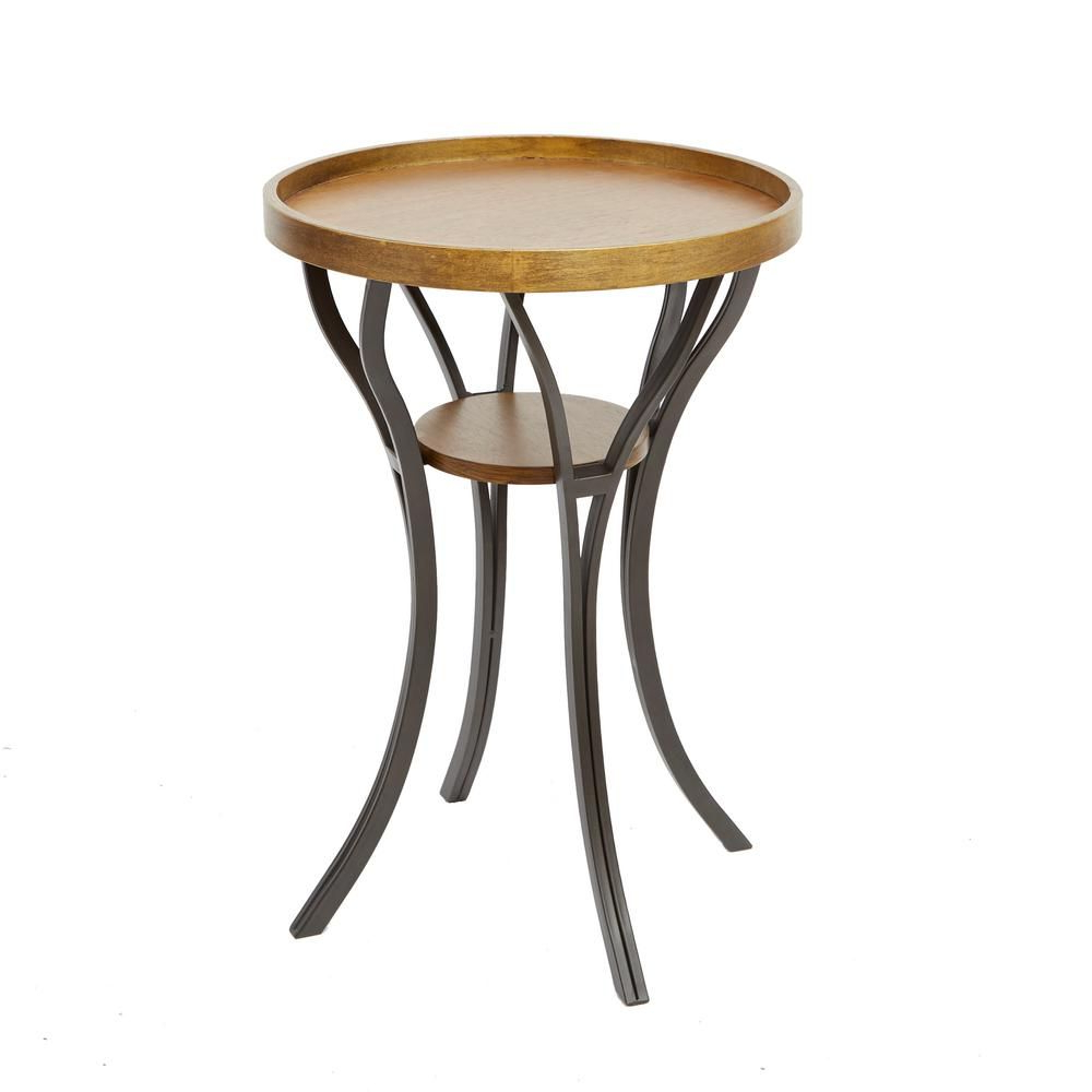 """Silverwood Furniture Reimagined Â""""¢ Leo Brown And Gray End Throughout Fashionable Gracewood Hollow Dones Traditional Cinnamon Round End Tables (View 10 of 20)"""