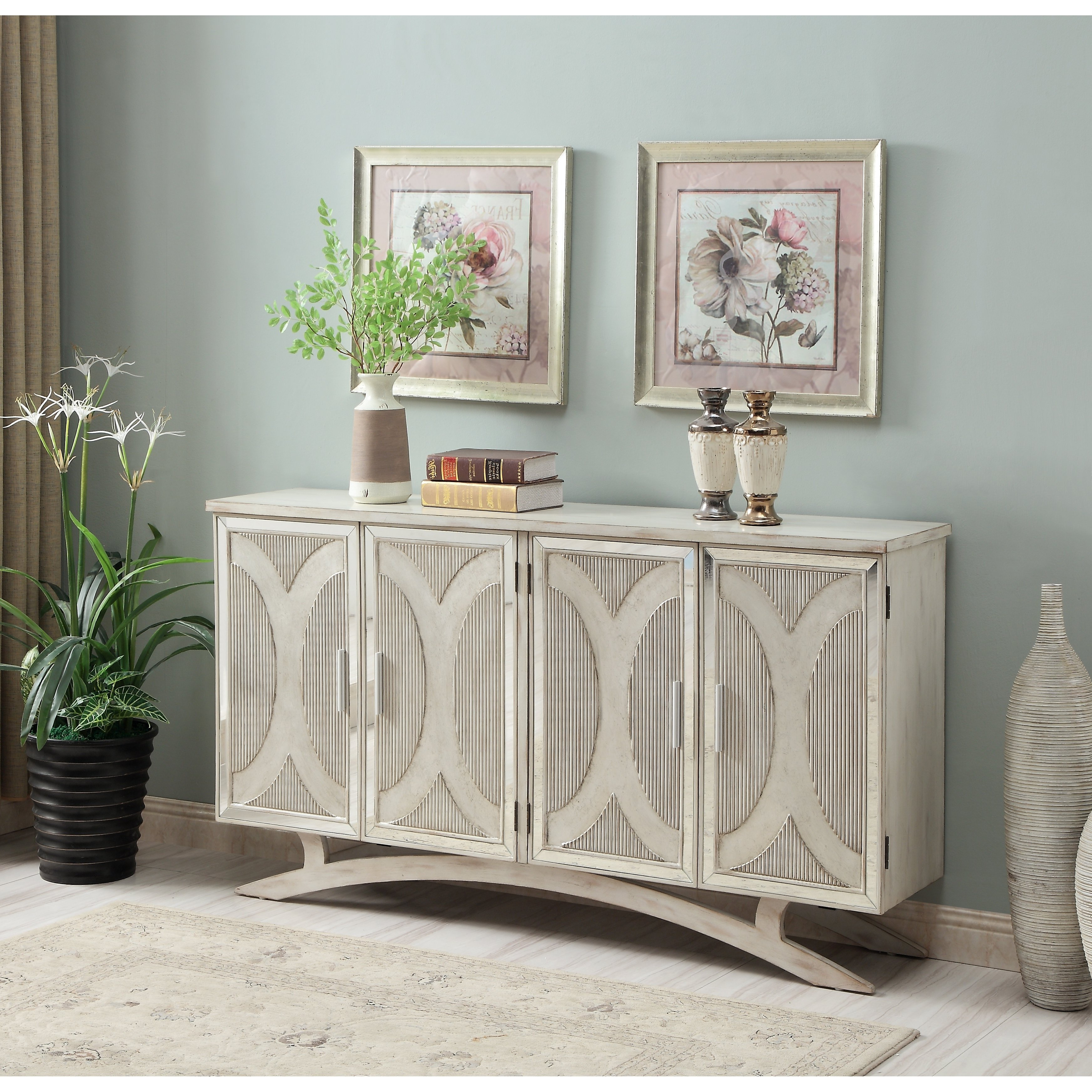 Somette Millicent White And Silver Rub Four Door Media In Senda Credenzas (View 3 of 20)