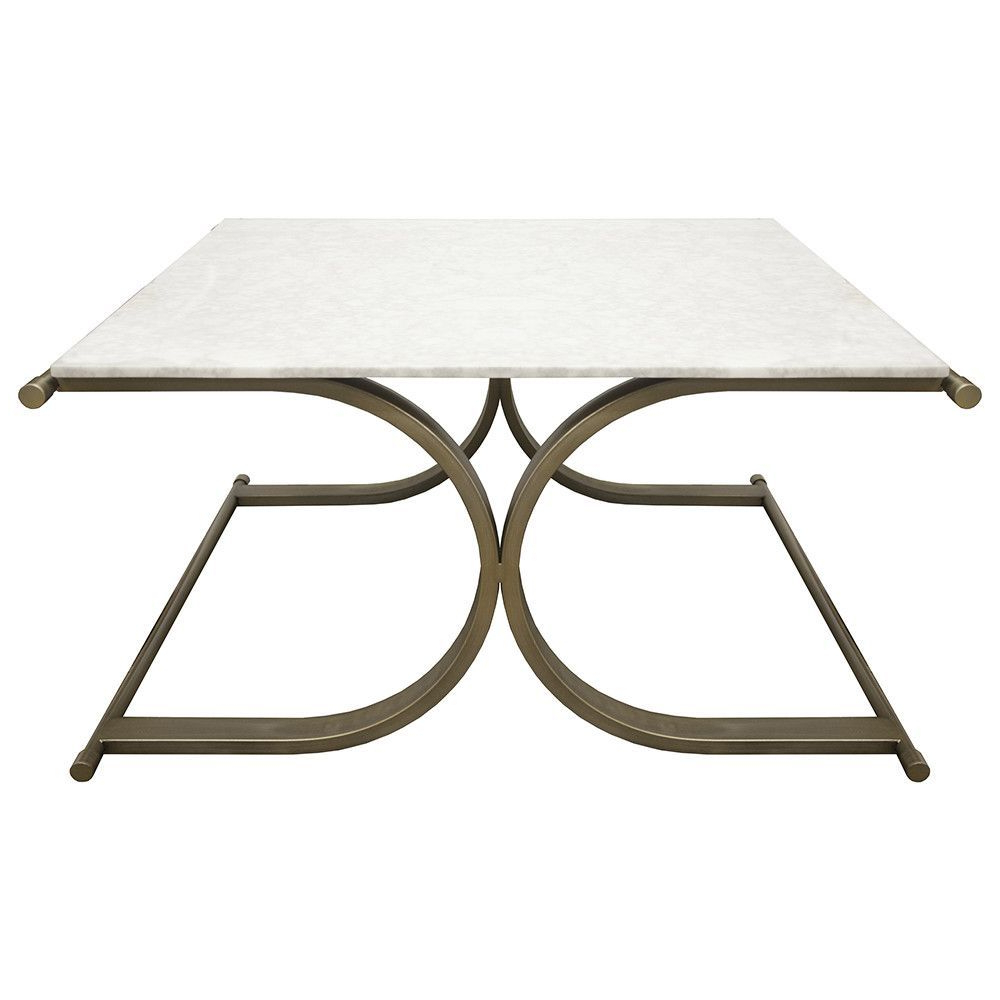 Square X Frame Cocktail Table – Bronze & Marble (View 18 of 20)