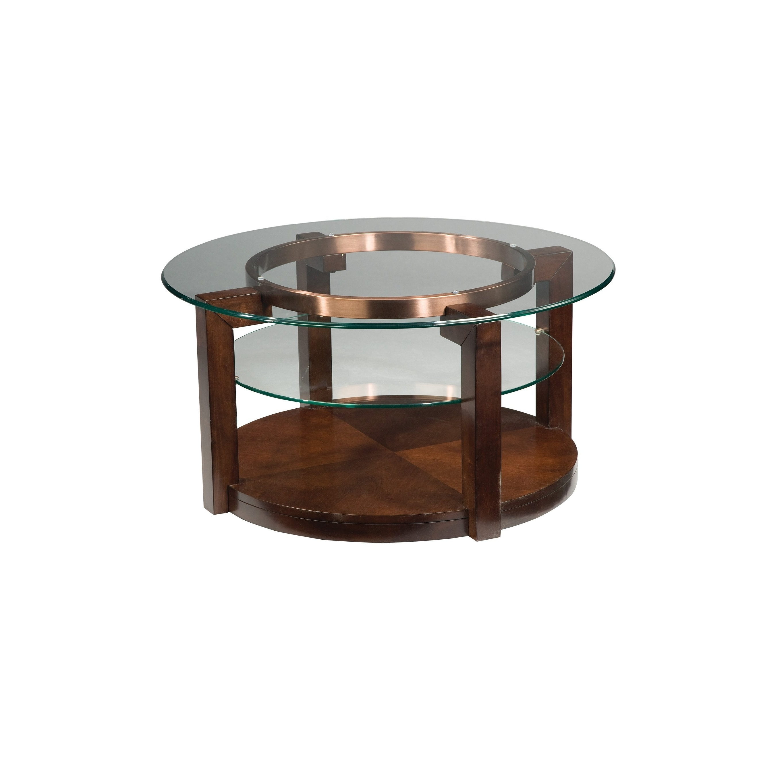 Standard Furniture Coronado Brown Wood/glass Round Coffee Table With Casters Pertaining To Current Copper Grove Halesia Chocolate Bronze Round Coffee Tables (View 17 of 20)