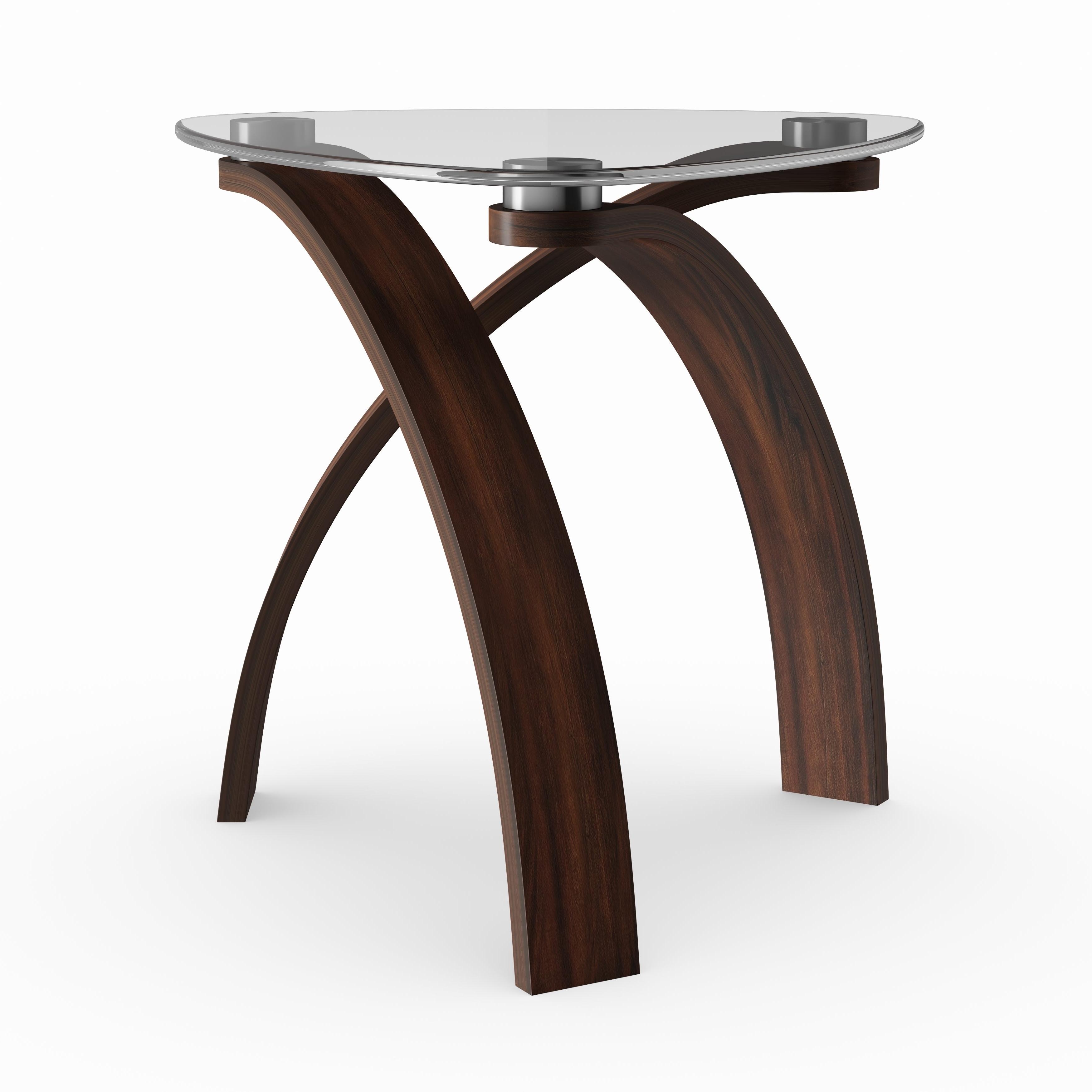 Strick & Bolton Ascott Modern Glass Top Arch Legged End Table Regarding Best And Newest Evalline Modern Dark Walnut Coffee Tables (View 18 of 20)