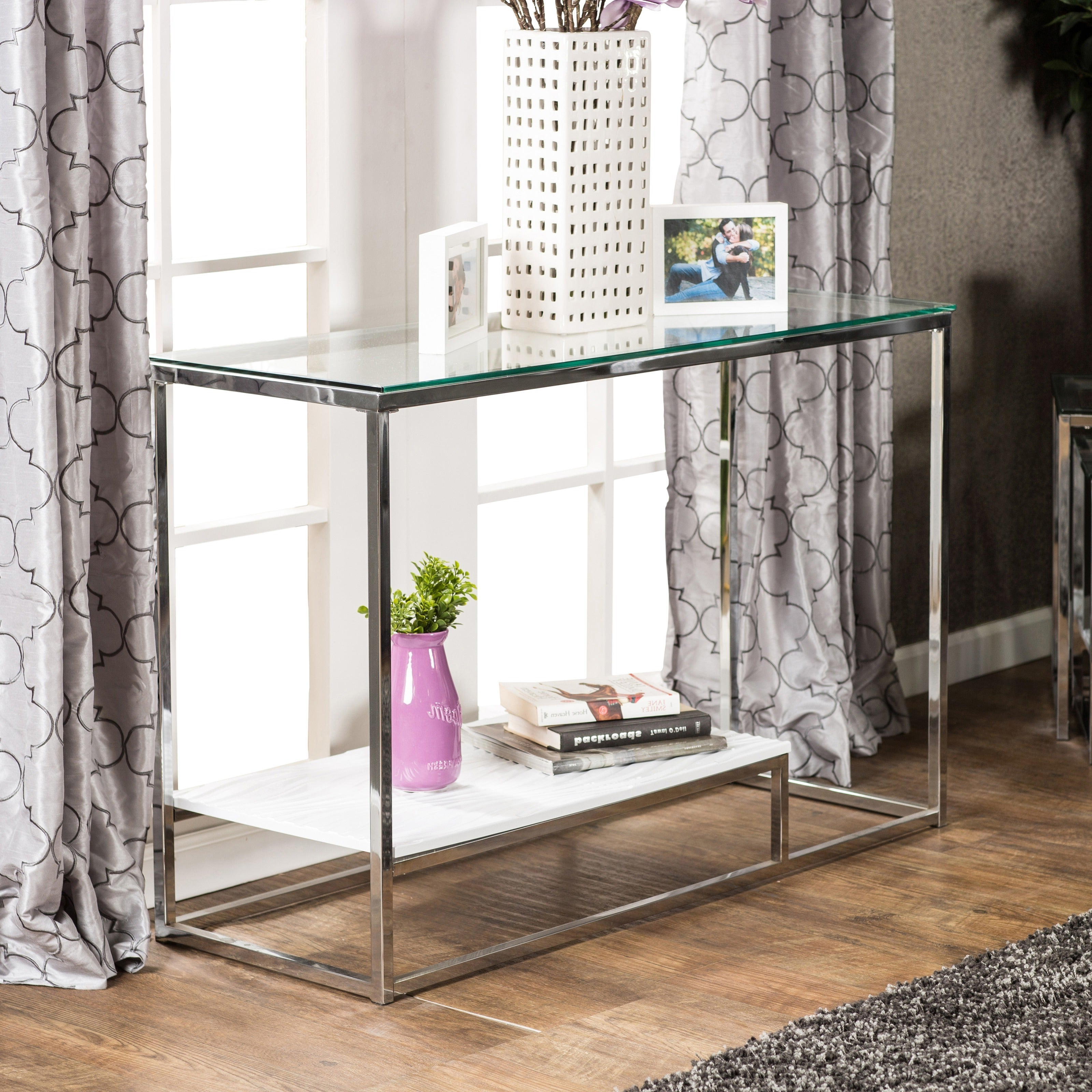 Strick & Bolton Florence Chrome Sofa Table Regarding Favorite Strick & Bolton Florence Chrome Coffee Tables (View 7 of 20)