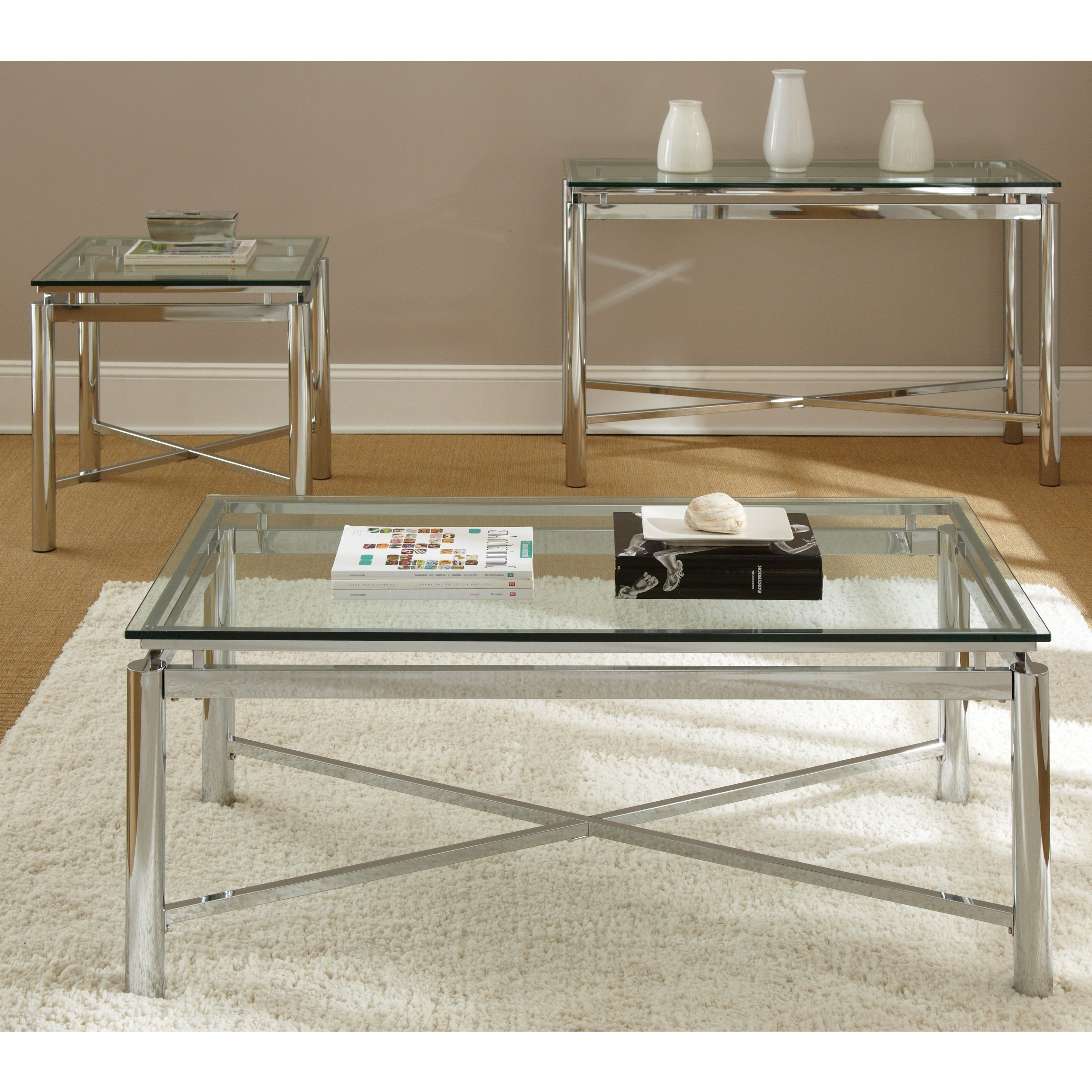 Strick & Bolton Jules Chrome And Glass End Table Inside Preferred Strick & Bolton Jules Chrome And Glass Coffee Tables (View 4 of 20)