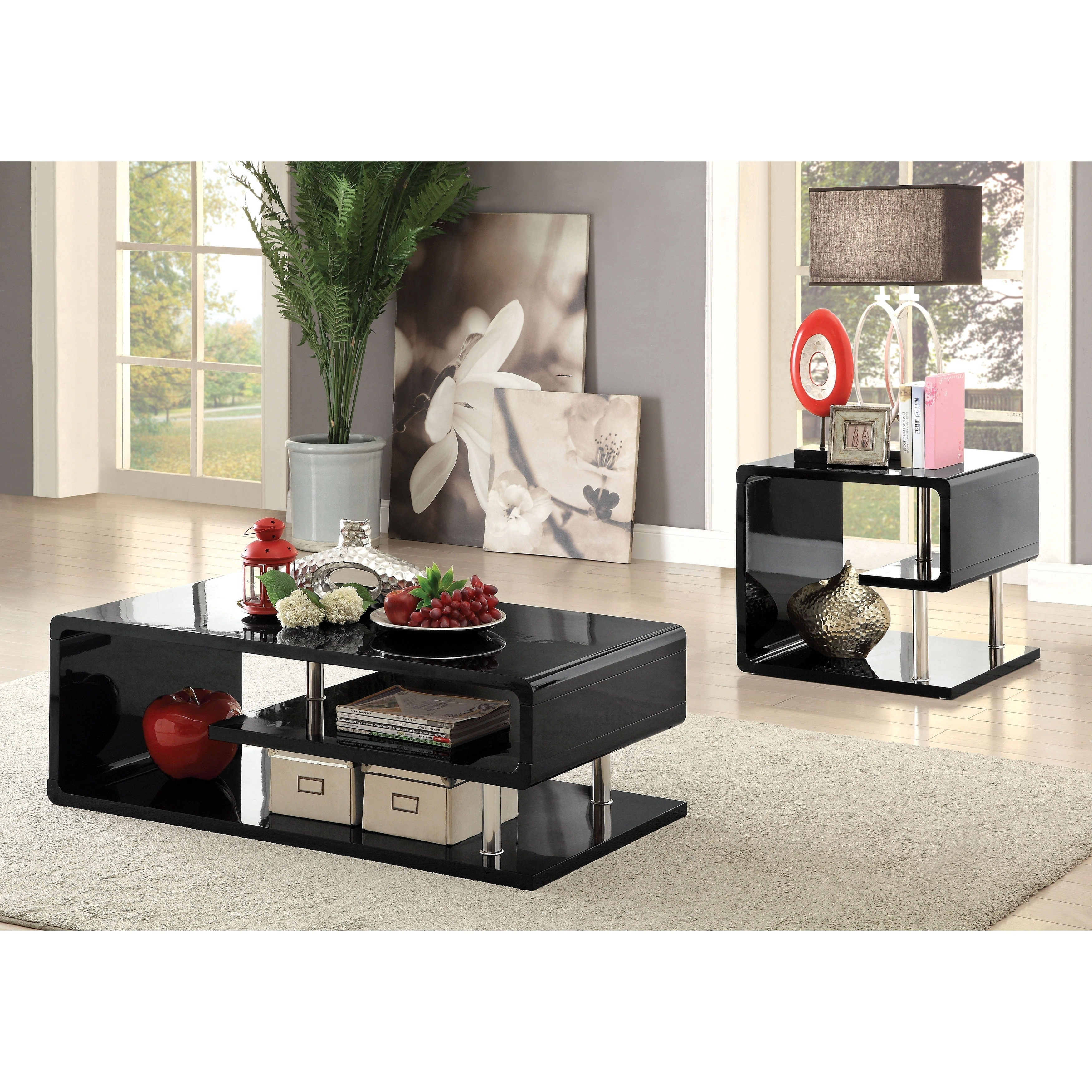 Strick & Bolton Sylvia Geometric High Gloss End Table Throughout Most Popular Strick & Bolton Sylvia Geometric High Gloss Coffee Tables (View 4 of 20)