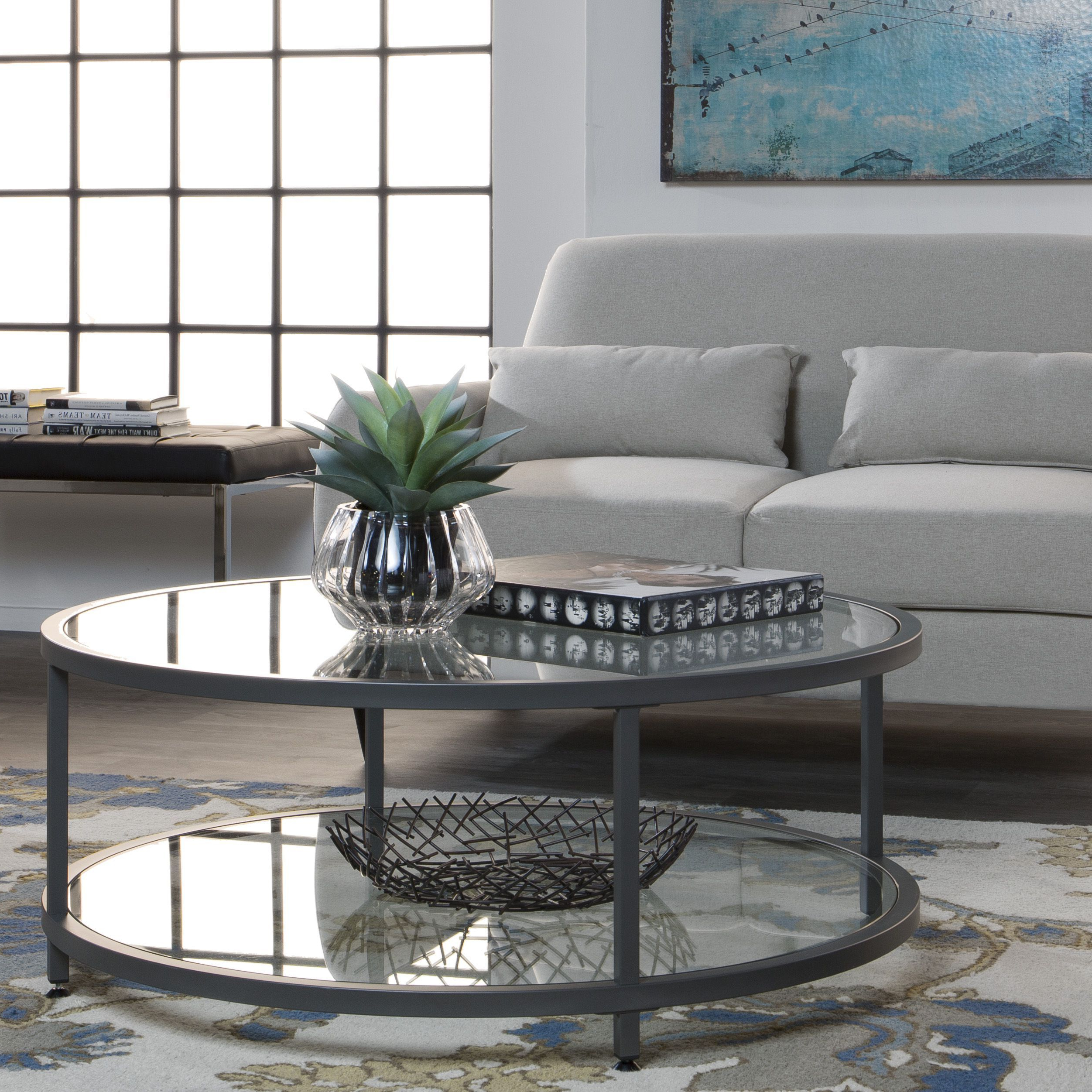Studio Designs Clay Alder Home Blair Pewter Steel/glass Inside Most Recently Released Elowen Round Glass Coffee Tables (View 15 of 20)