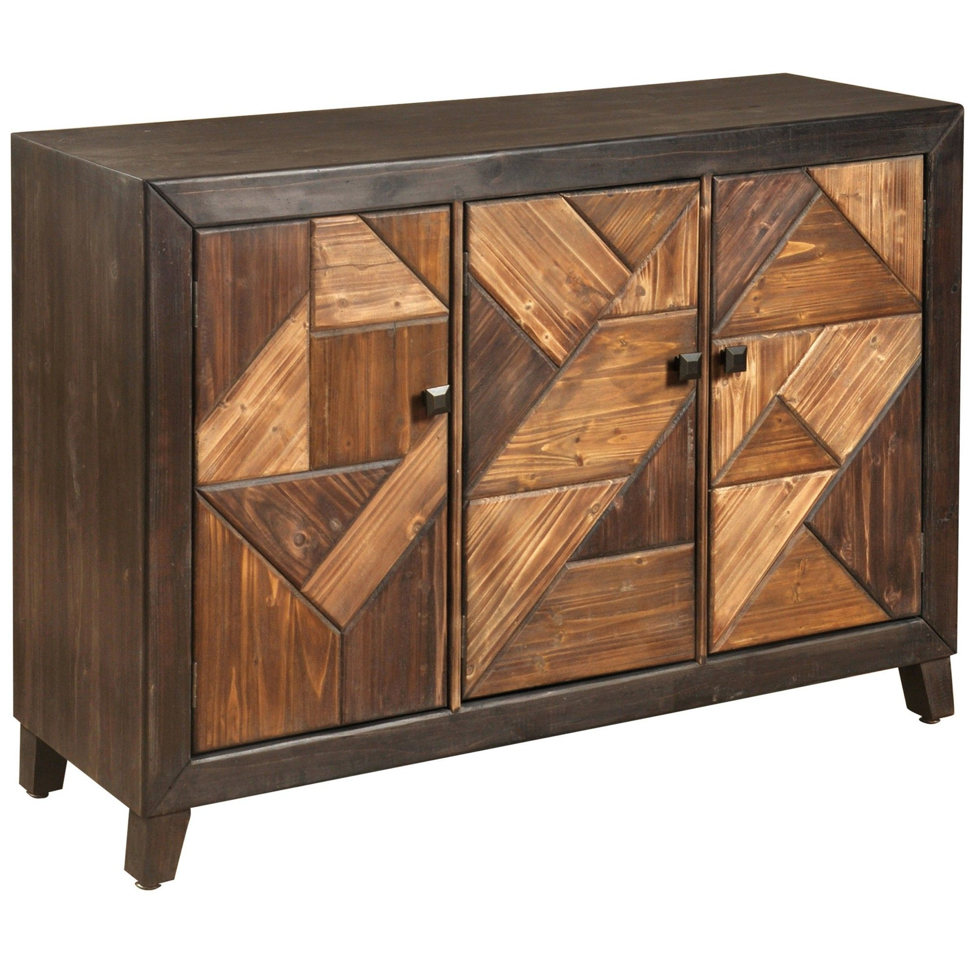 Stylecraft 3 Door Chevron Credenza Espresso Brown | Products Intended For Casolino Sideboards (View 8 of 20)