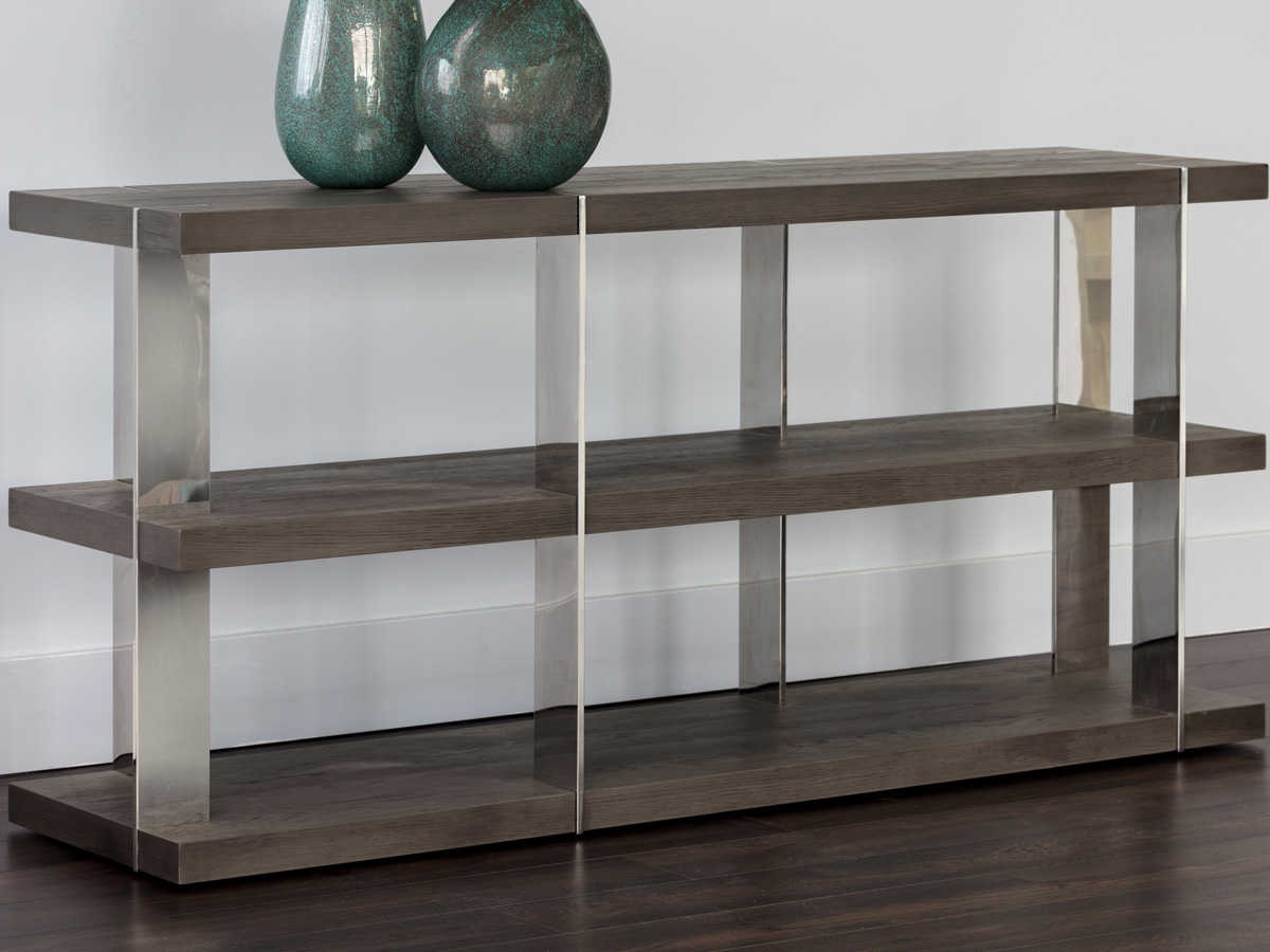 Sunpan Carmella Polished Smoked Oak / Stainless Steel 59'' Wide Rectangular Console Table With Regard To Recent Carmella Satin Plated Coffee Tables (View 18 of 20)