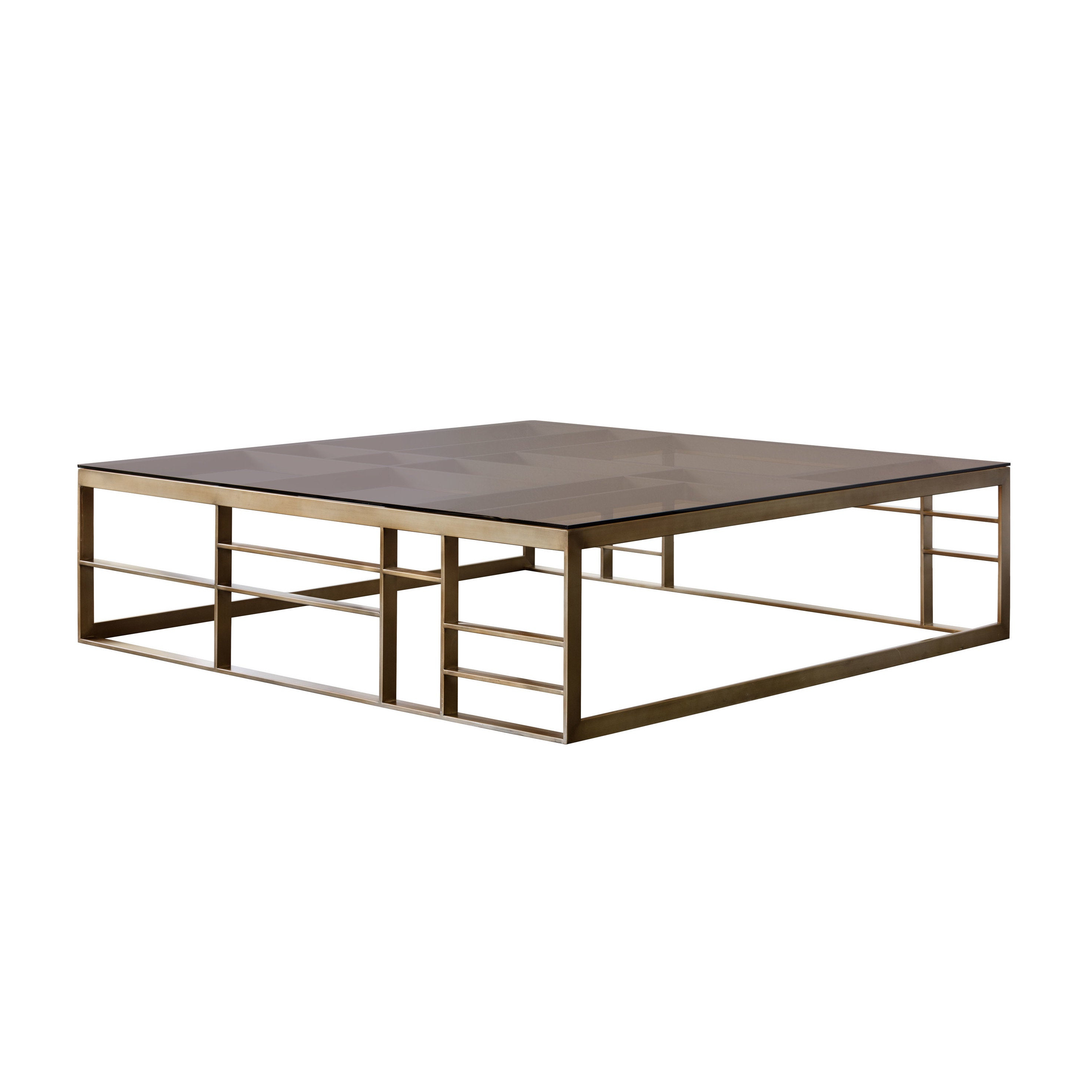 Sunpan Joanna Antique Brass And Brown Glass Square Coffee Table For 2019 Paris Natural Wood And Iron 30 Inch Square Coffee Tables (View 15 of 20)