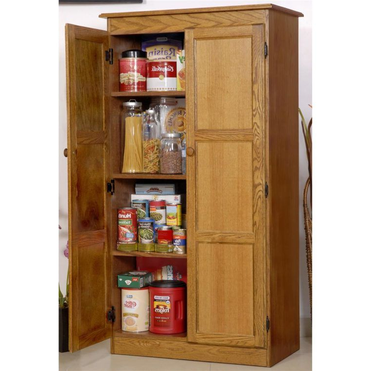 Tall Freestanding Wood Kitchen Pantry Storage Cabinet With Inside Newest Ferryhill Kitchen Pantry (View 16 of 20)