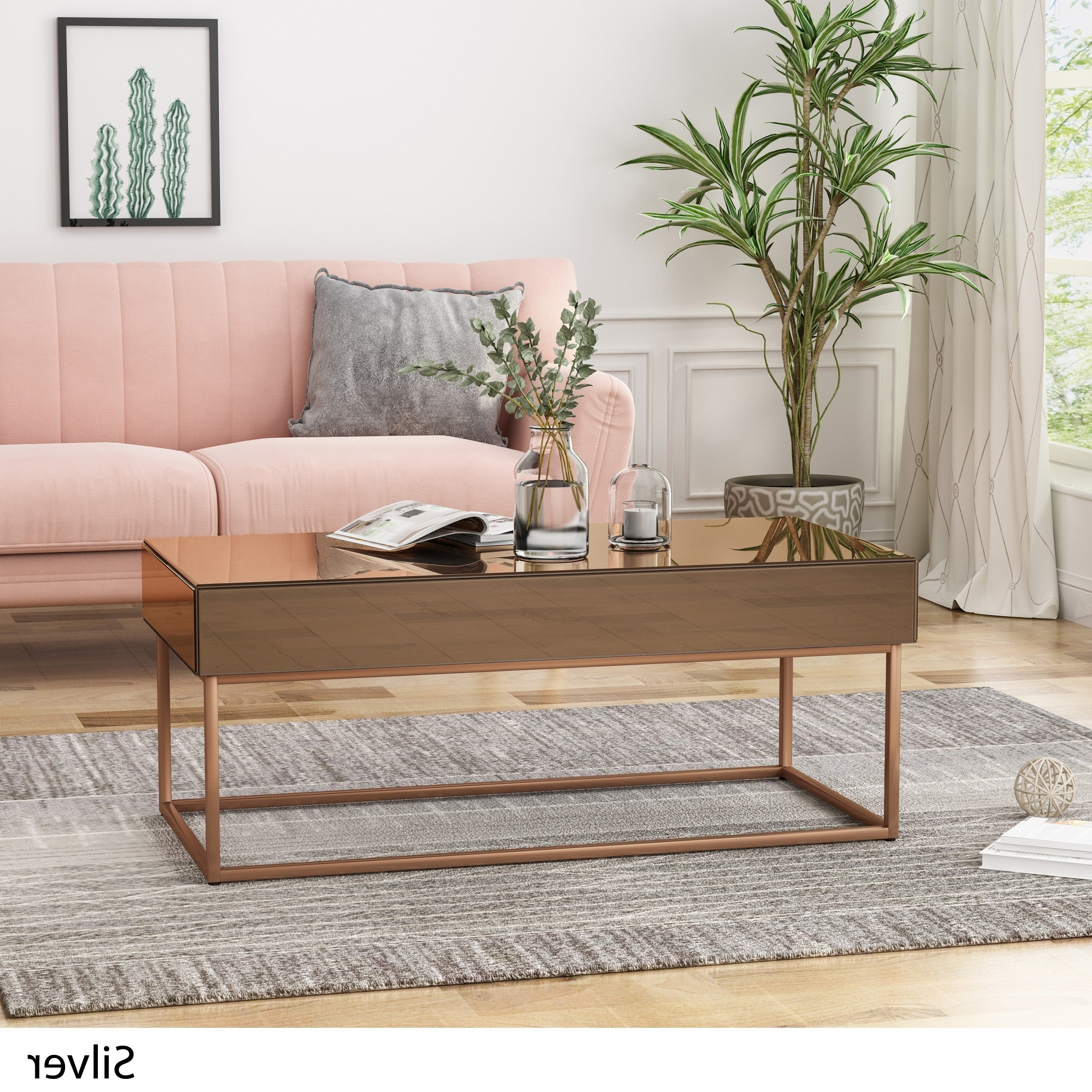Tallowa Mirrored Coffee Table Electroplated Framechristopher Knight Home Throughout Favorite Furniture Of America Orelia Brass Luxury Copper Metal Coffee Tables (View 19 of 20)