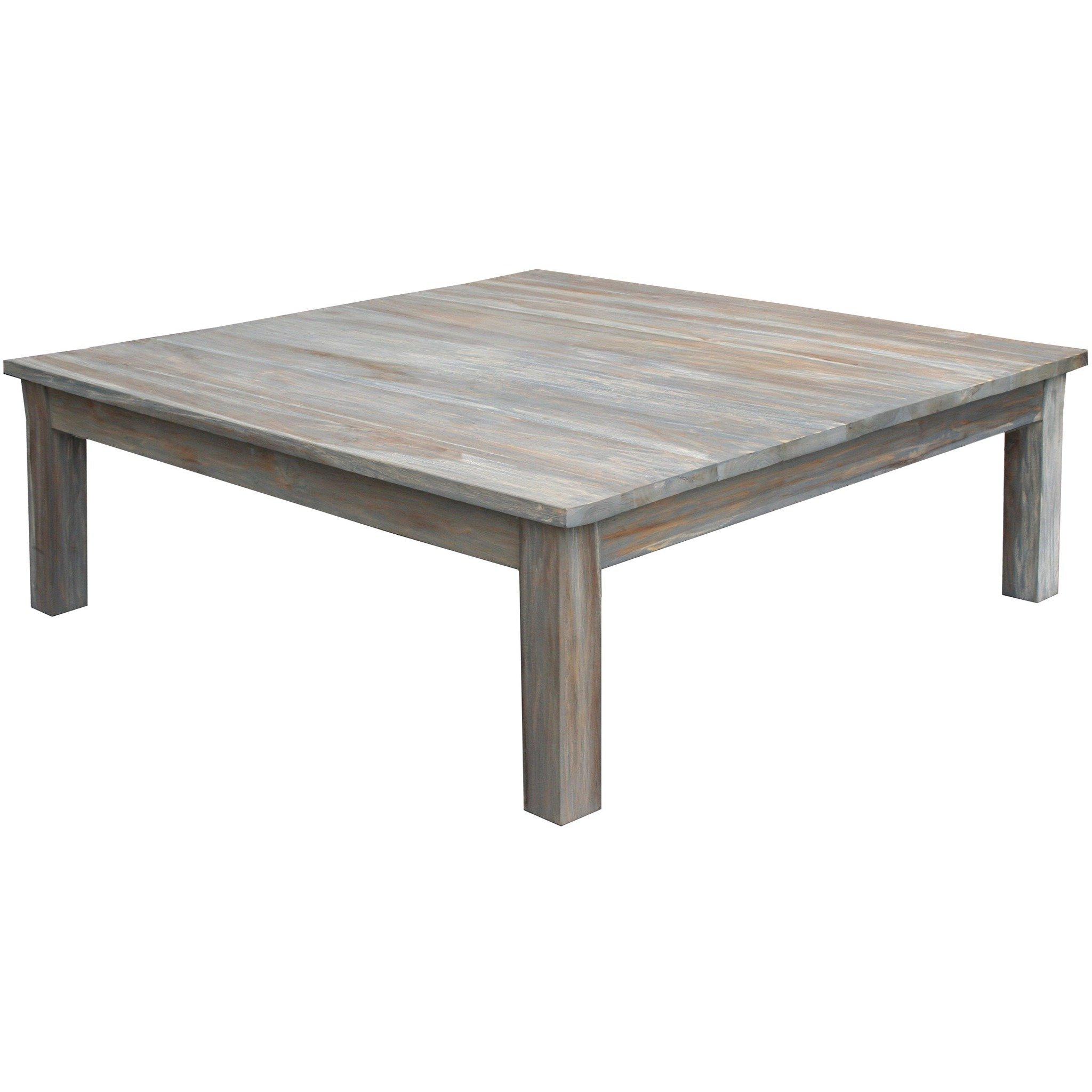 Teak Wood Grey Wash Rustic Coffee Table  (View 16 of 20)