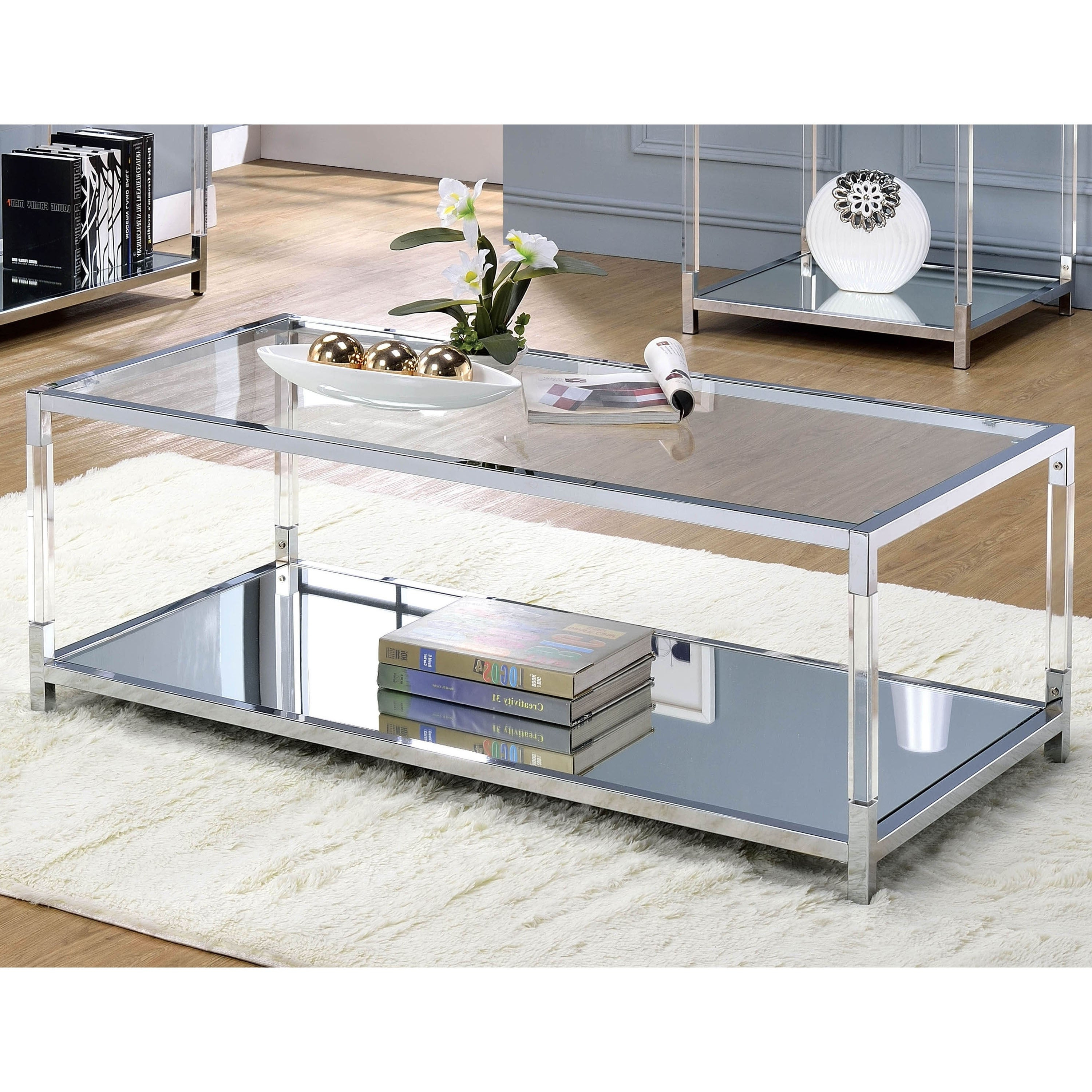 Thalberg Contemporary Chrome Coffee Tablefoa Pertaining To Most Up To Date Contemporary Chrome Glass Top And Mirror Shelf Coffee Tables (View 18 of 20)