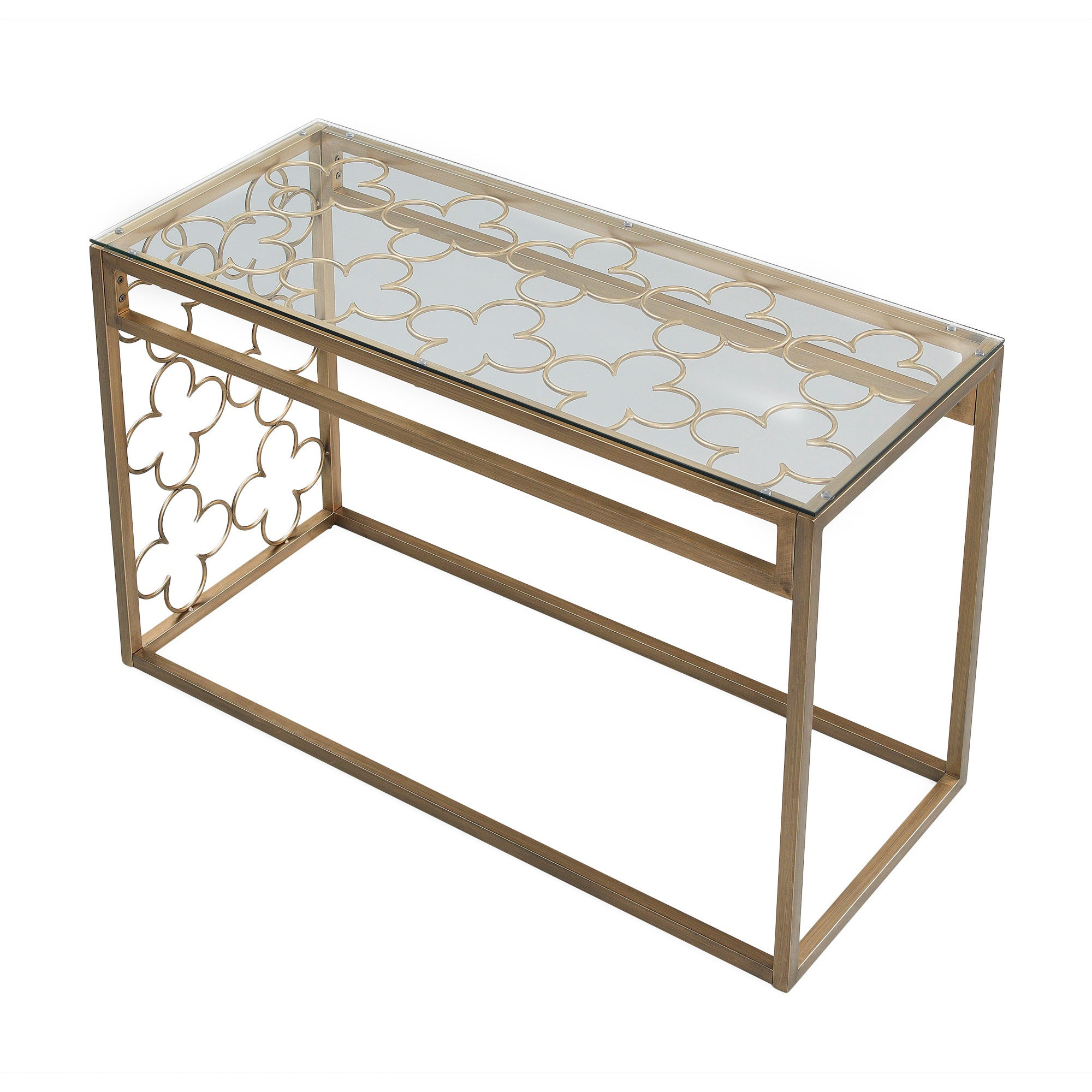 The Curated Nomad Quatrefoil Goldtone Metal And Glass Sofa Table Intended For Latest The Curated Nomad Quatrefoil Goldtone Metal And Glass Coffee Tables (View 12 of 20)