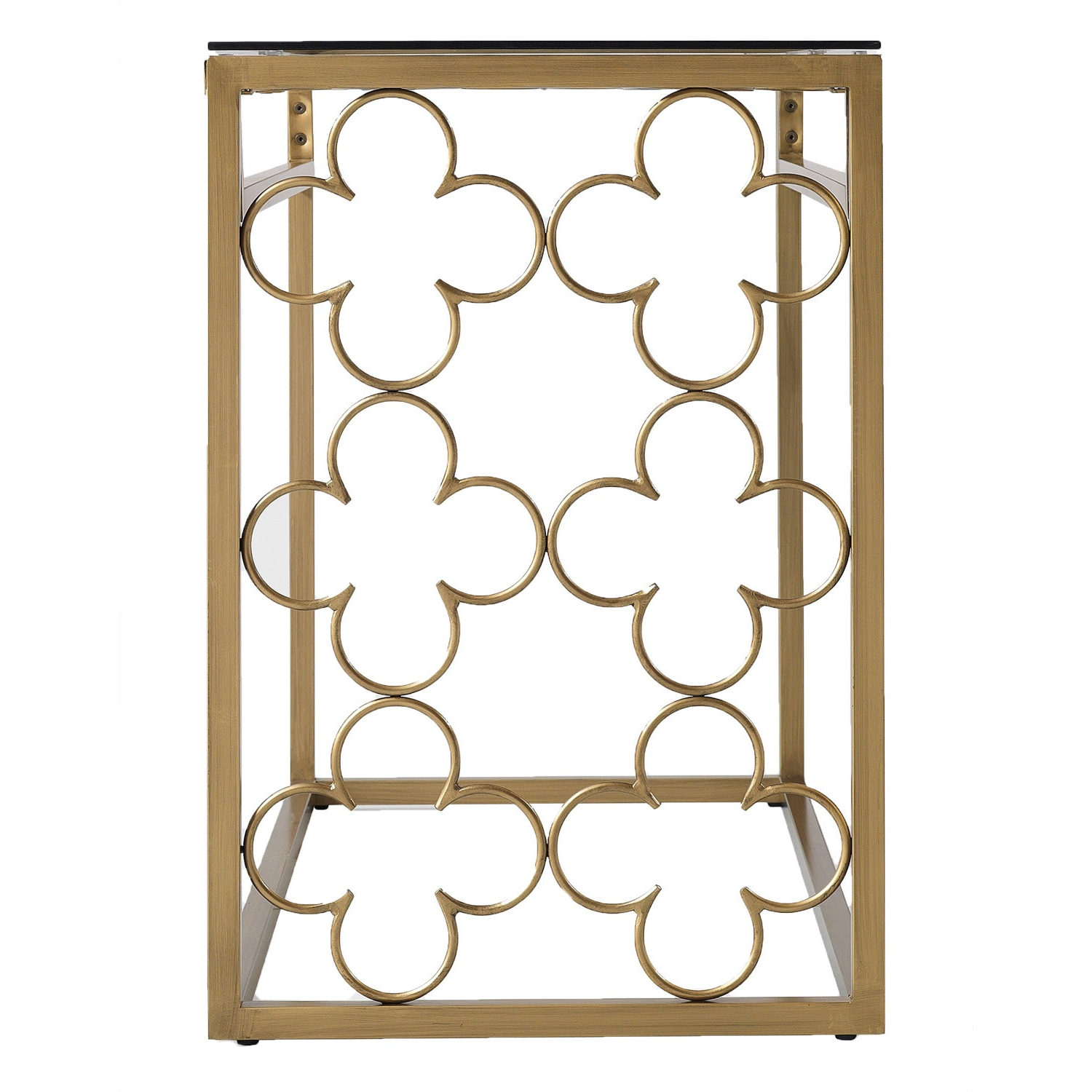 The Curated Nomad Quatrefoil Goldtone Metal And Glass Sofa Table Regarding Trendy The Curated Nomad Quatrefoil Goldtone Metal And Glass Coffee Tables (View 13 of 20)