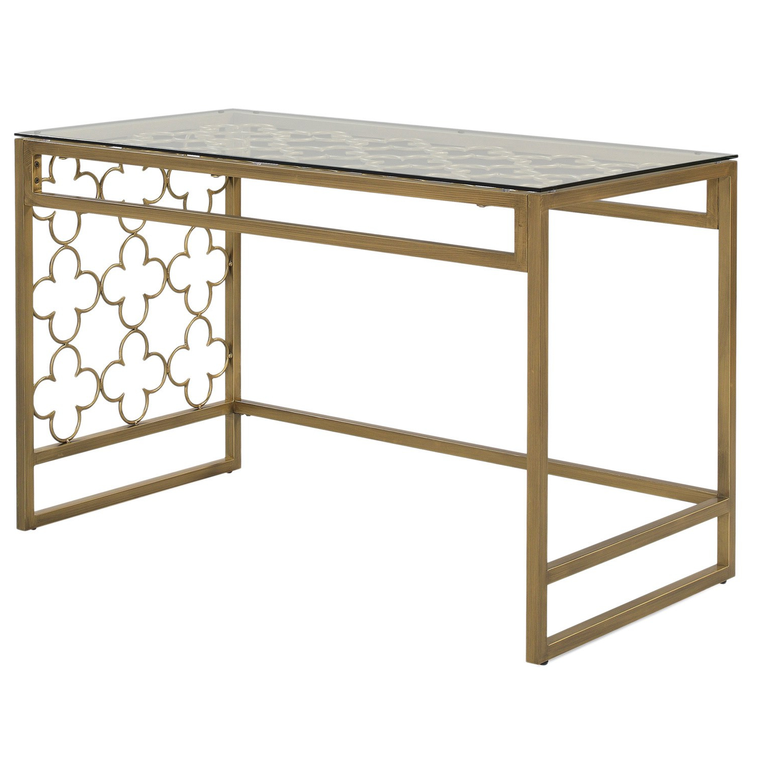 The Curated Nomad Quatrefoil Goldtone Metal And Glass Writing Desk Throughout Most Popular The Curated Nomad Quatrefoil Goldtone Metal And Glass Coffee Tables (View 15 of 20)