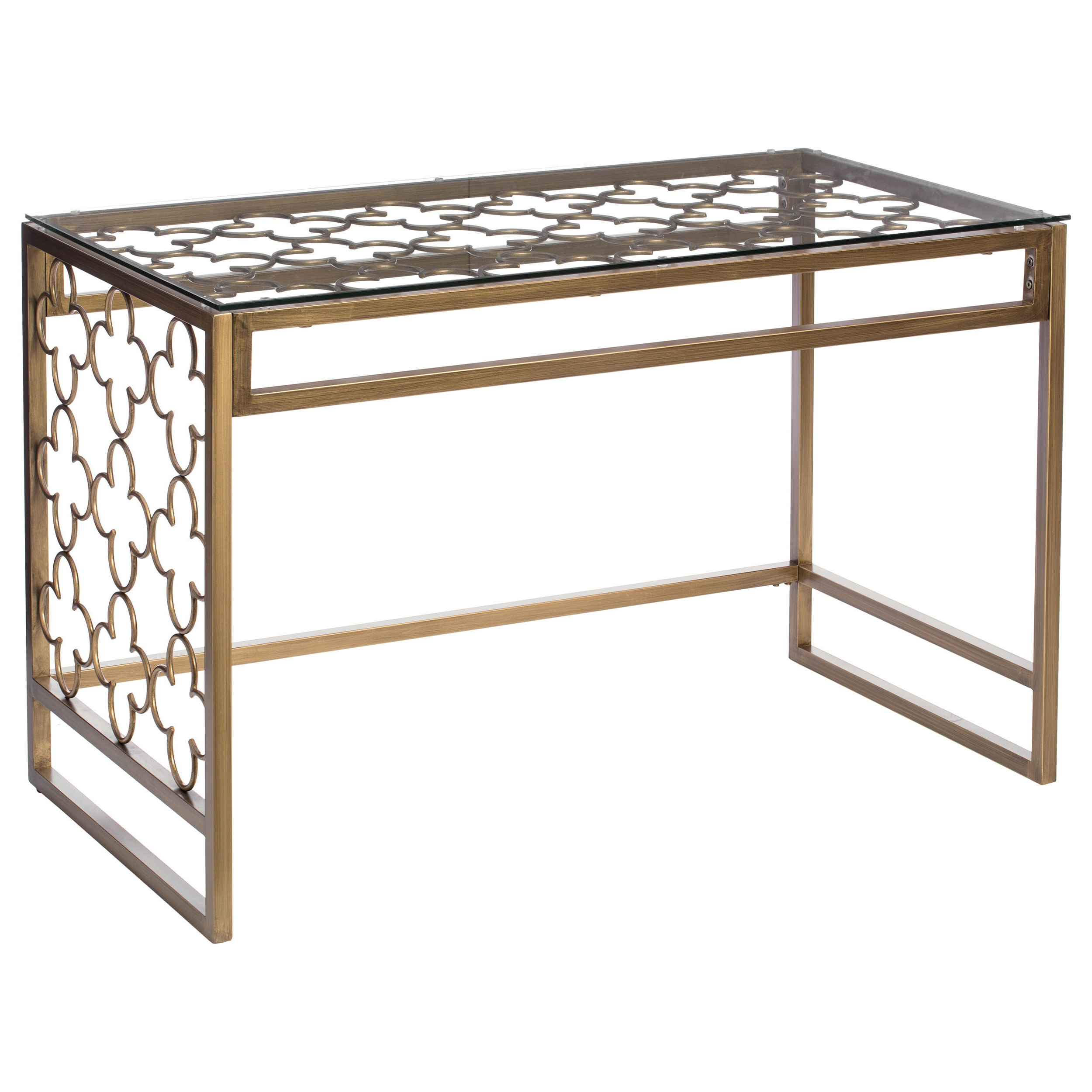 The Curated Nomad Quatrefoil Goldtone Metal And Glass Writing Desk With Regard To Most Current The Curated Nomad Quatrefoil Goldtone Metal And Glass Coffee Tables (View 16 of 20)