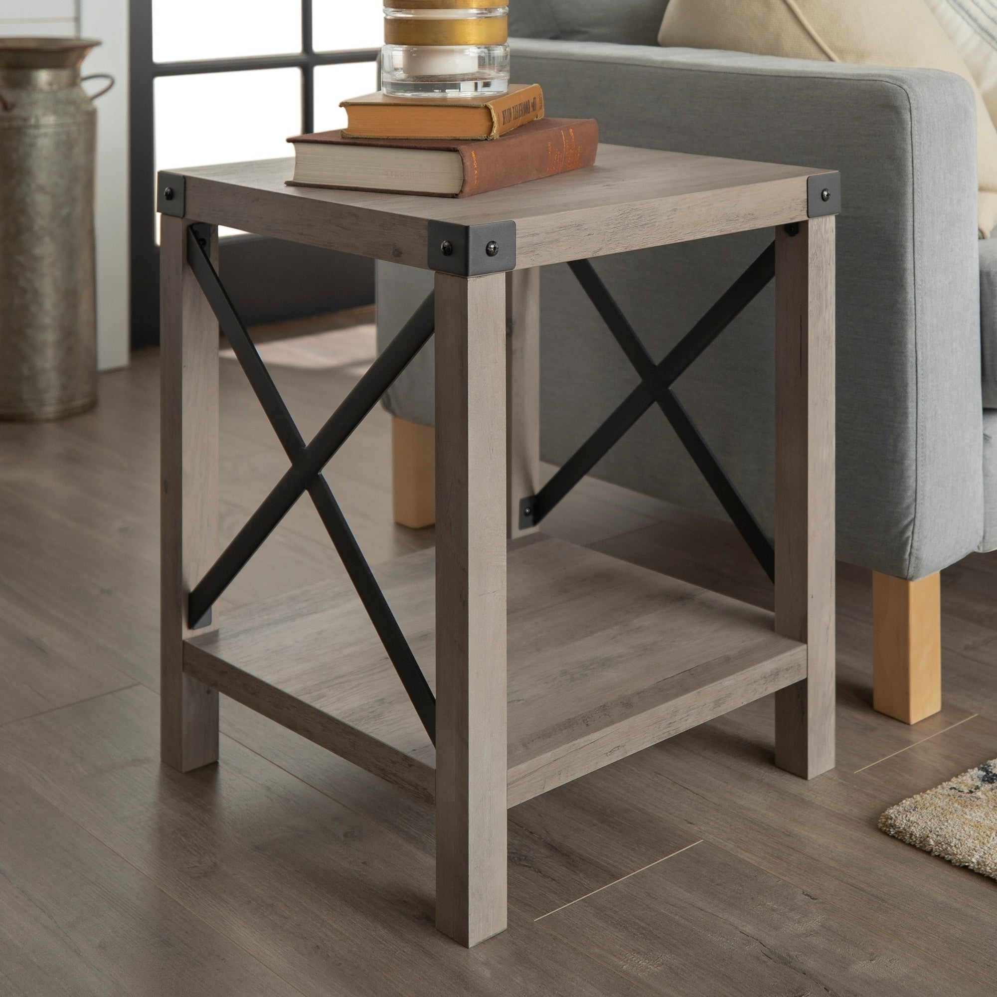 The Gray Barn 18 Inch Kujawa Rustic Side, End Table, Farmhouse X Frame For Living Room – 18 X 18 X 22h Regarding Best And Newest The Gray Barn Kujawa Metal X Coffee Tables – 40 X 22 X 18h (View 13 of 20)