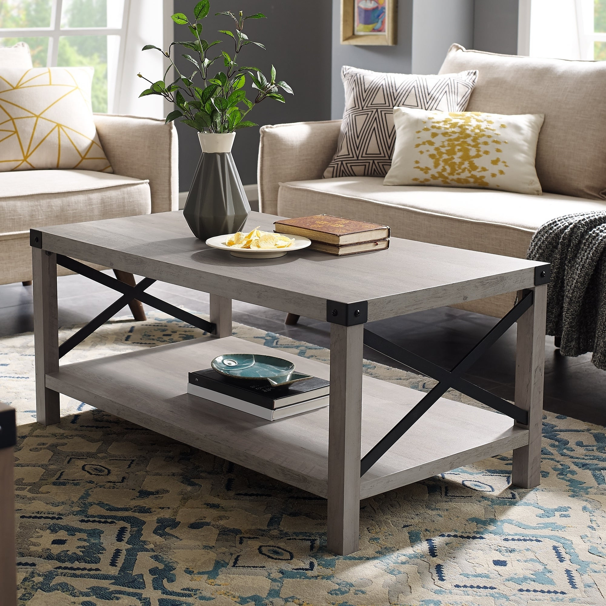 Featured Photo of The Gray Barn Kujawa Metal X Coffee Tables 40 X 22 X 18H
