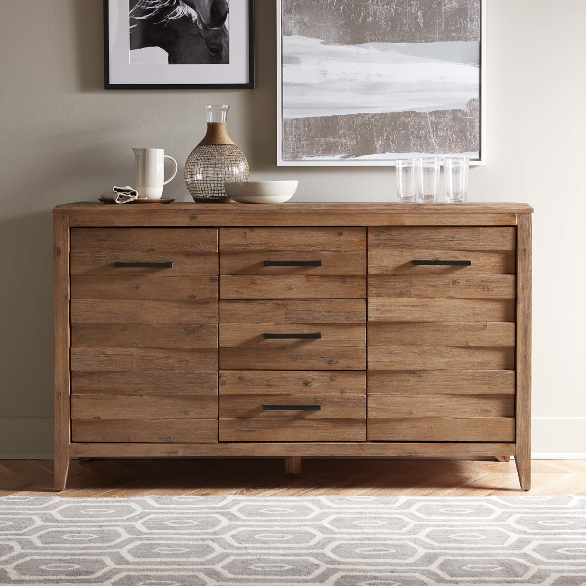 This Handsomely Built Acacia Wood Sideboard Features Rustic Throughout Saint Gratien Sideboards (View 8 of 20)